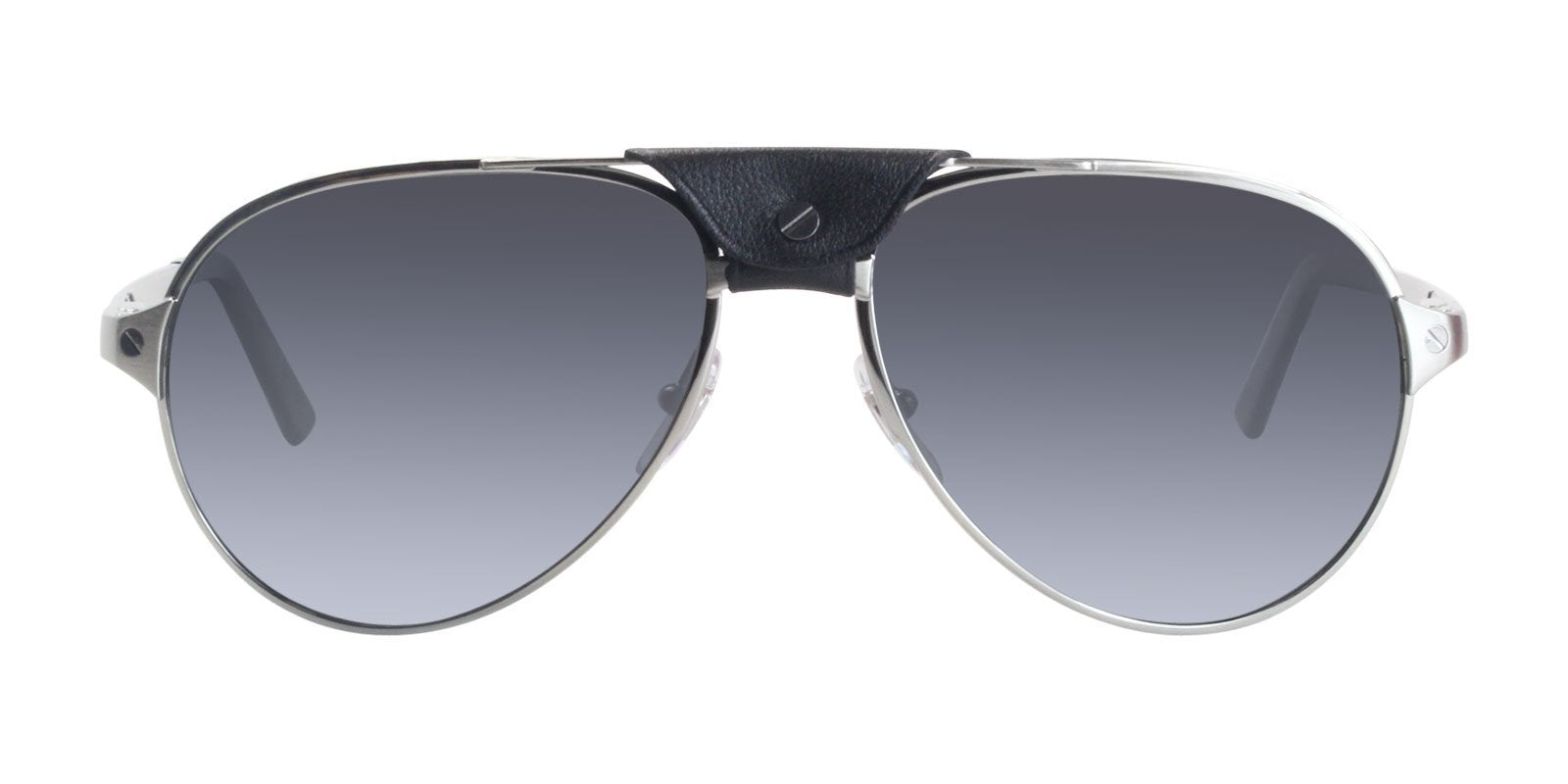 Cartier - CT0034S Shiny Ruthenium - Black Aviator Men Sunglasses - 59mm-Sunglasses-Designer Eyes