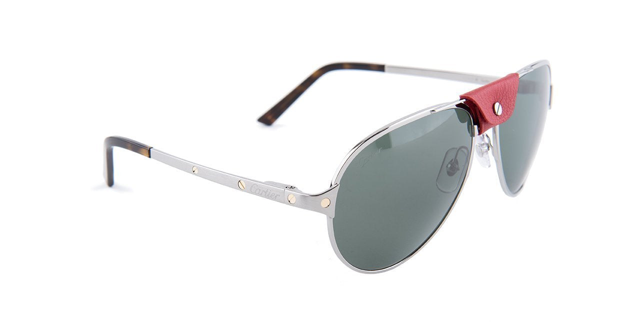 Cartier - CT0034S Shiny Ruthenium/Red Men Sunglasses - 61mm-Sunglasses-Designer Eyes