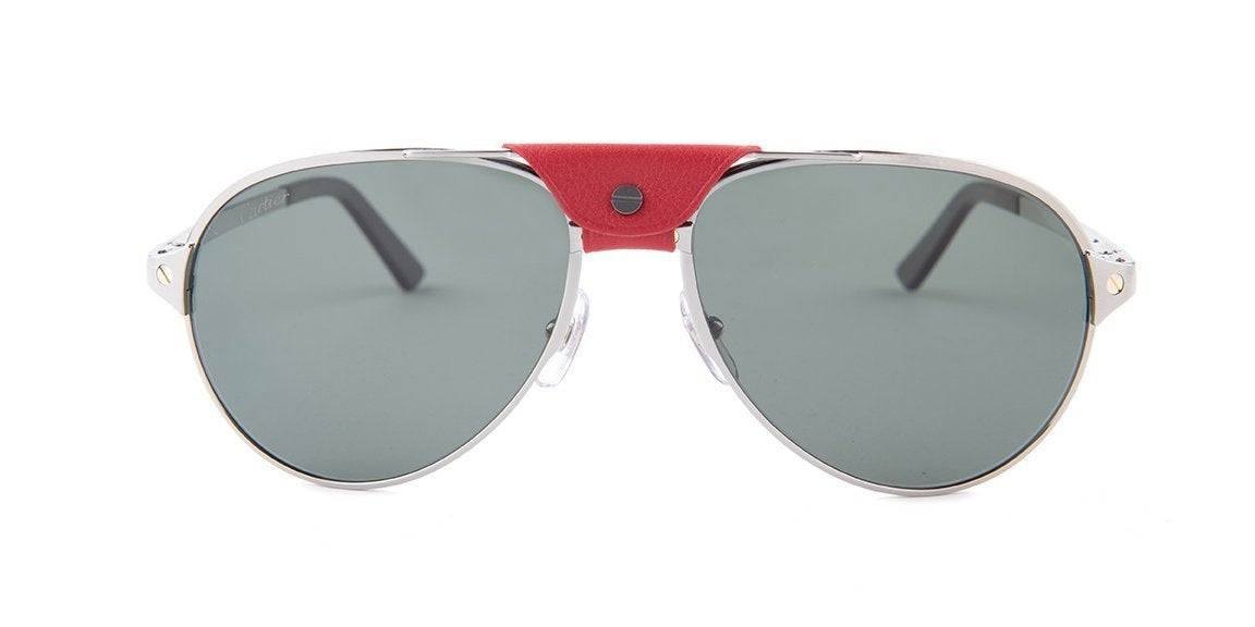 Cartier - CT0034S Silver Aviator Men Sunglasses - 59mm-Sunglasses-Designer Eyes
