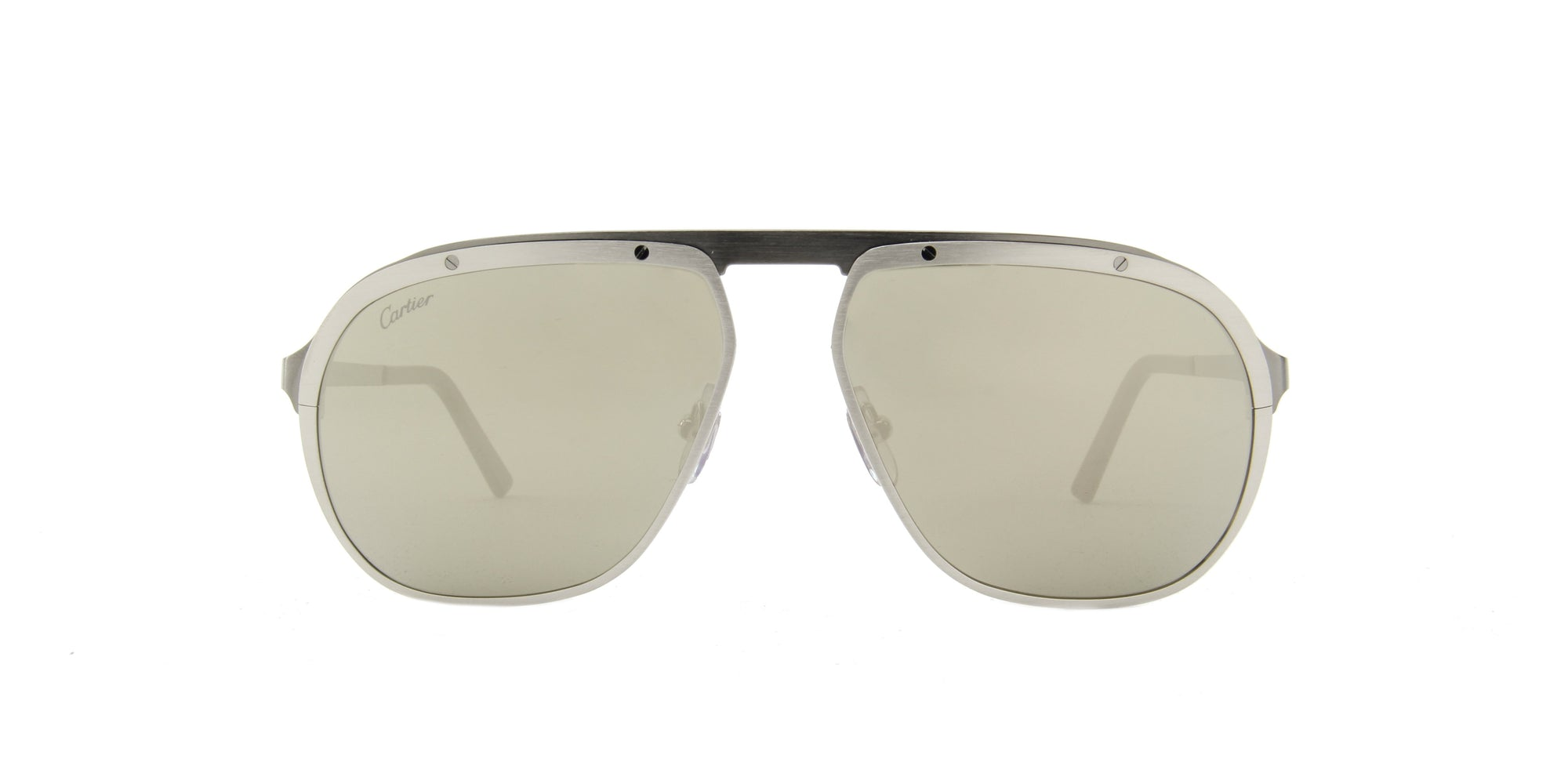 Cartier - CT0035S Satinee Platine/Gray Men Sunglasses - 60mm-Sunglasses-Designer Eyes