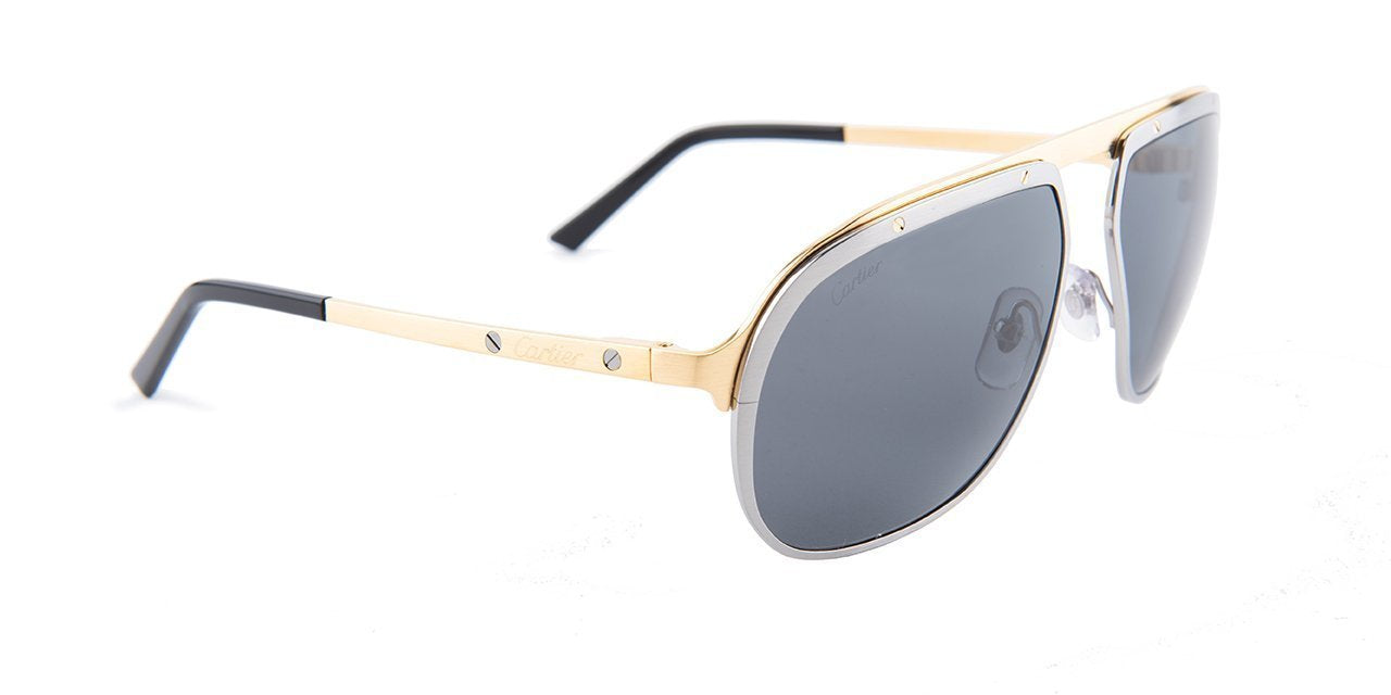 Cartier - CT0035S Satinee Ruthenium/Satinee Or Pale Men Sunglasses - 60mm-Sunglasses-Designer Eyes