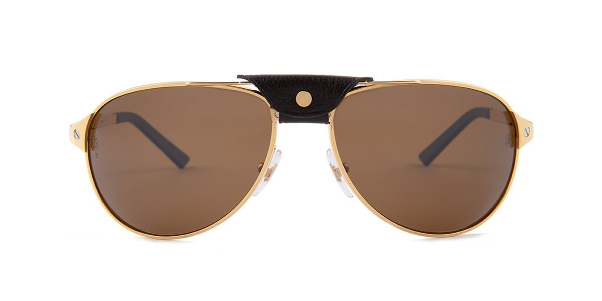 Cartier - CT0074S Gold/Brown Aviator Unisex Sunglasses - 58mm-Sunglasses-Designer Eyes