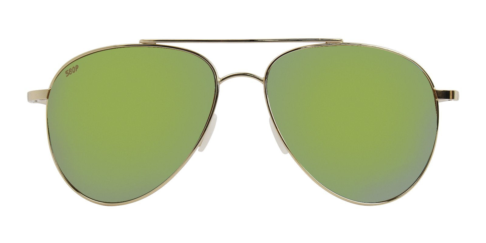 Costa Del Mar - Cook Gold/Green Mirror Polarized Aviator Unisex Sunglasses-Sunglasses-Designer Eyes