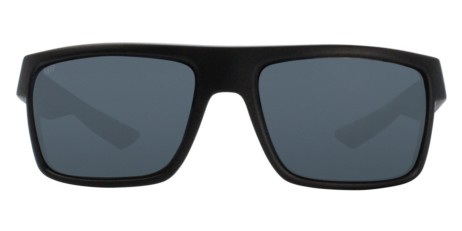 Costa Del Mar - Motu Black /Gray Polarized Rectangular Unisex Sunglasses - 57mm-Sunglasses-Designer Eyes