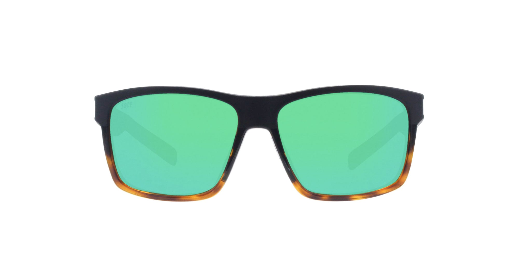 Costa Del Mar - Slack Tide Black Tortoise/Green Mirror Polarized Rectangular Men Sunglasses-Sunglasses-Designer Eyes