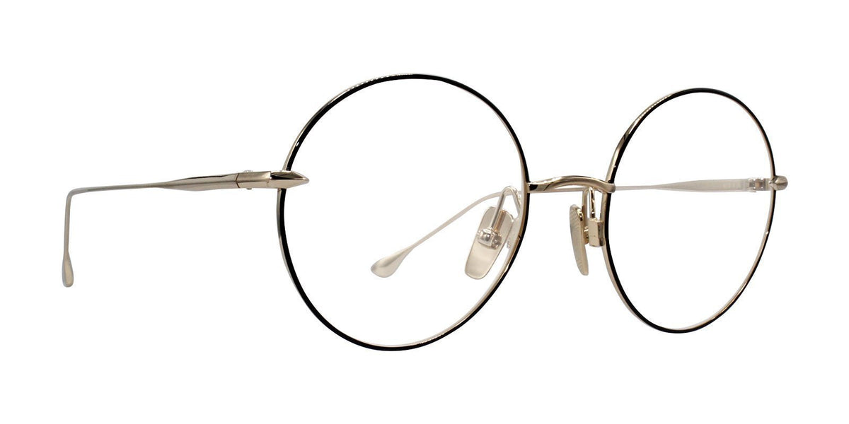 Dita - Believer Black Gold Oval Unisex Eyeglasses - 52mm-Eyeglasses-Designer Eyes