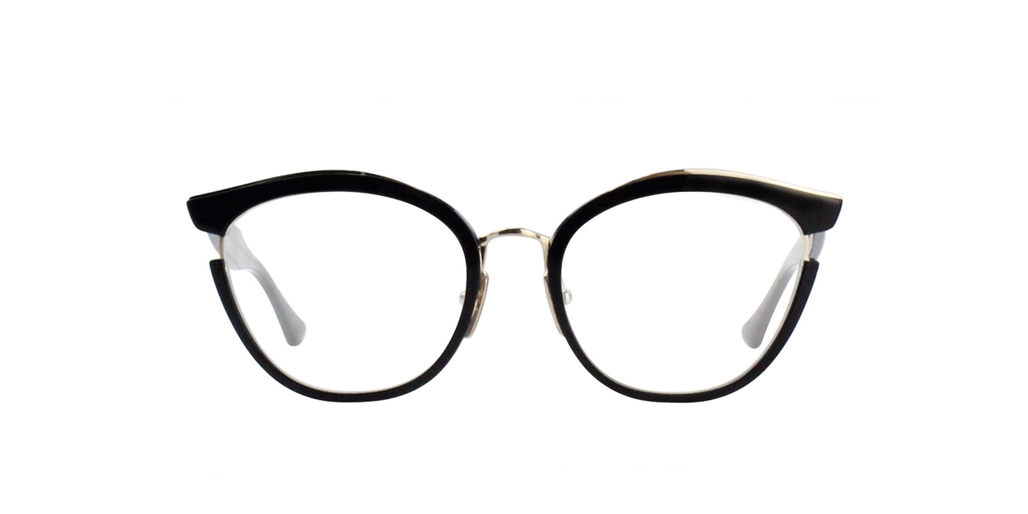 Dita - Mikro Navy-Navy Swirl - 14K Gold Oval Women Eyeglasses - 52mm-Eyeglasses-Designer Eyes