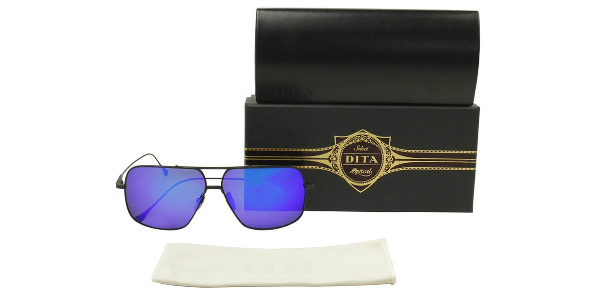 Dita - Flight 005 Black Rectangular Men Sunglasses - 61mm-Sunglasses-Designer Eyes