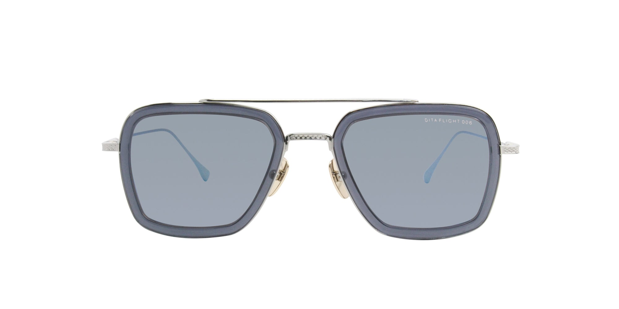 Dita - Flight 006 Blue Rectangular Unisex Sunglasses - 52mm-Sunglasses-Designer Eyes