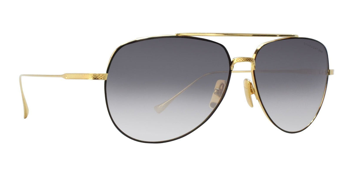 Dita - Flight.004 Black Gold Aviator Men Sunglasses - 61mm-Sunglasses-Designer Eyes