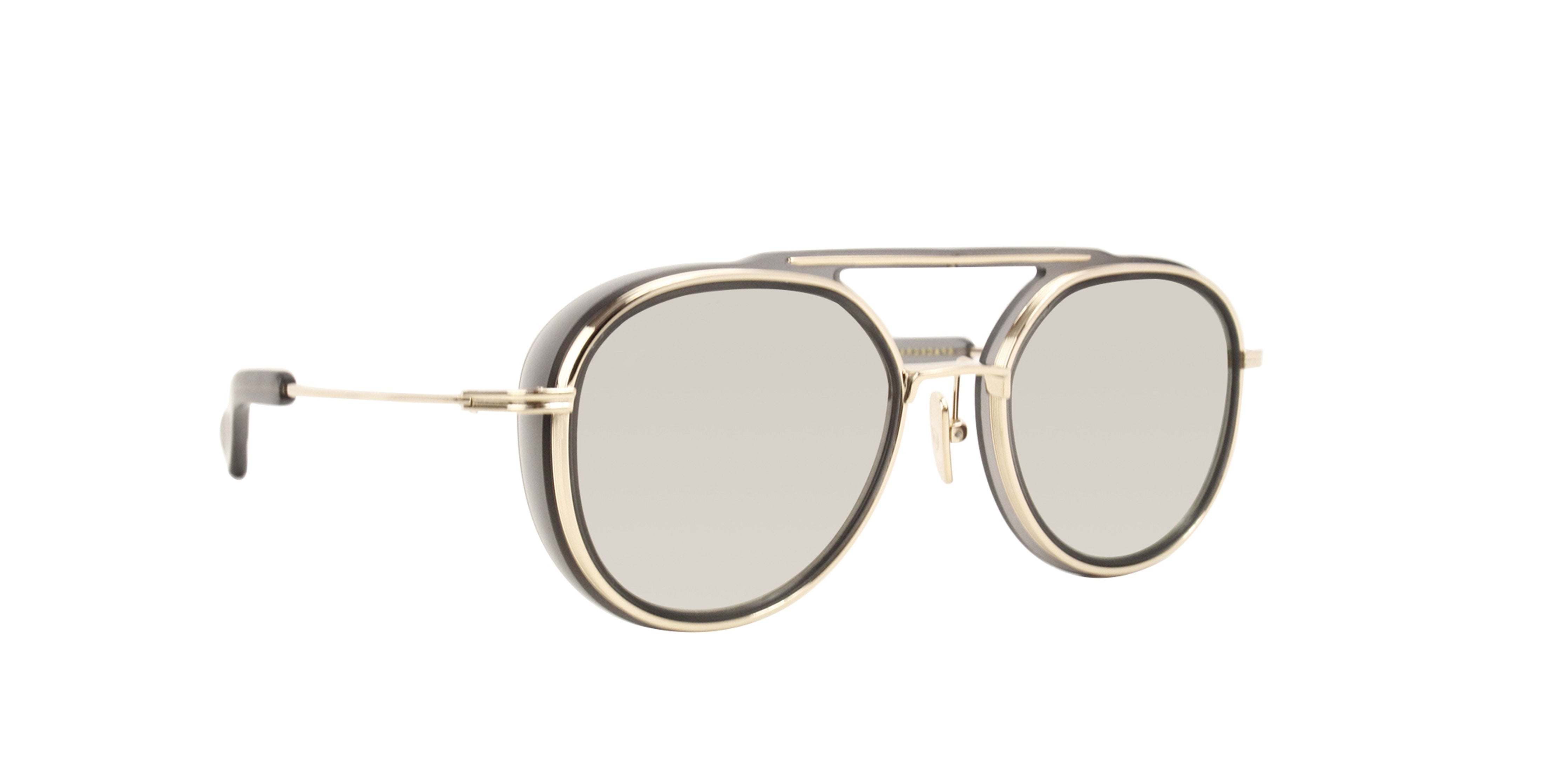 Dita - Spacecraft Matte Crystal Grey - White Gold Oval Men Sunglasses - 52mm-Sunglasses-Designer Eyes