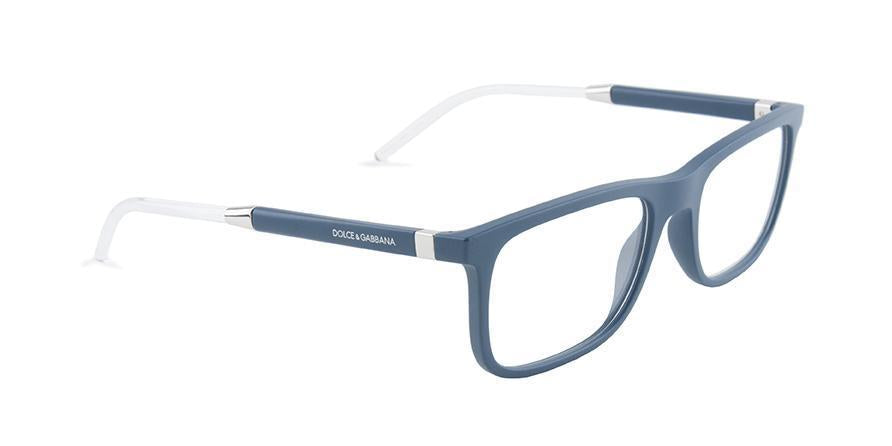 Dolce Gabbana - DG5030 Blue/Clear Rectangular Men Eyeglasses - 55mm-Eyeglasses-Designer Eyes