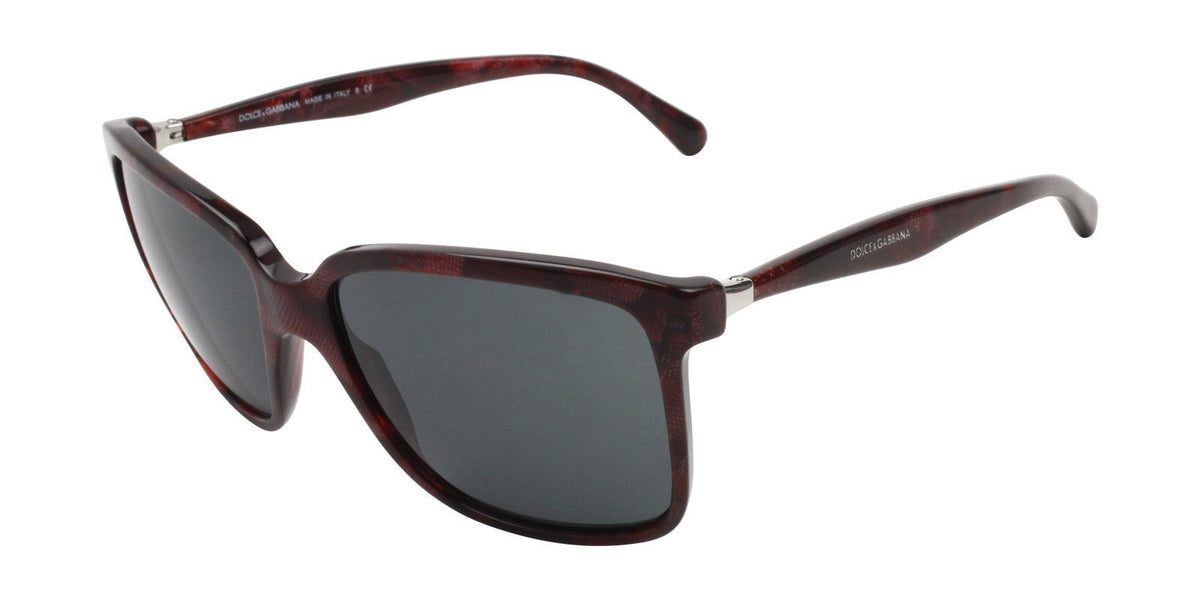 Dolce Gabbana - DG4152 Red/Gray Rectangular Women Sunglasses - 56mm-Sunglasses-Designer Eyes