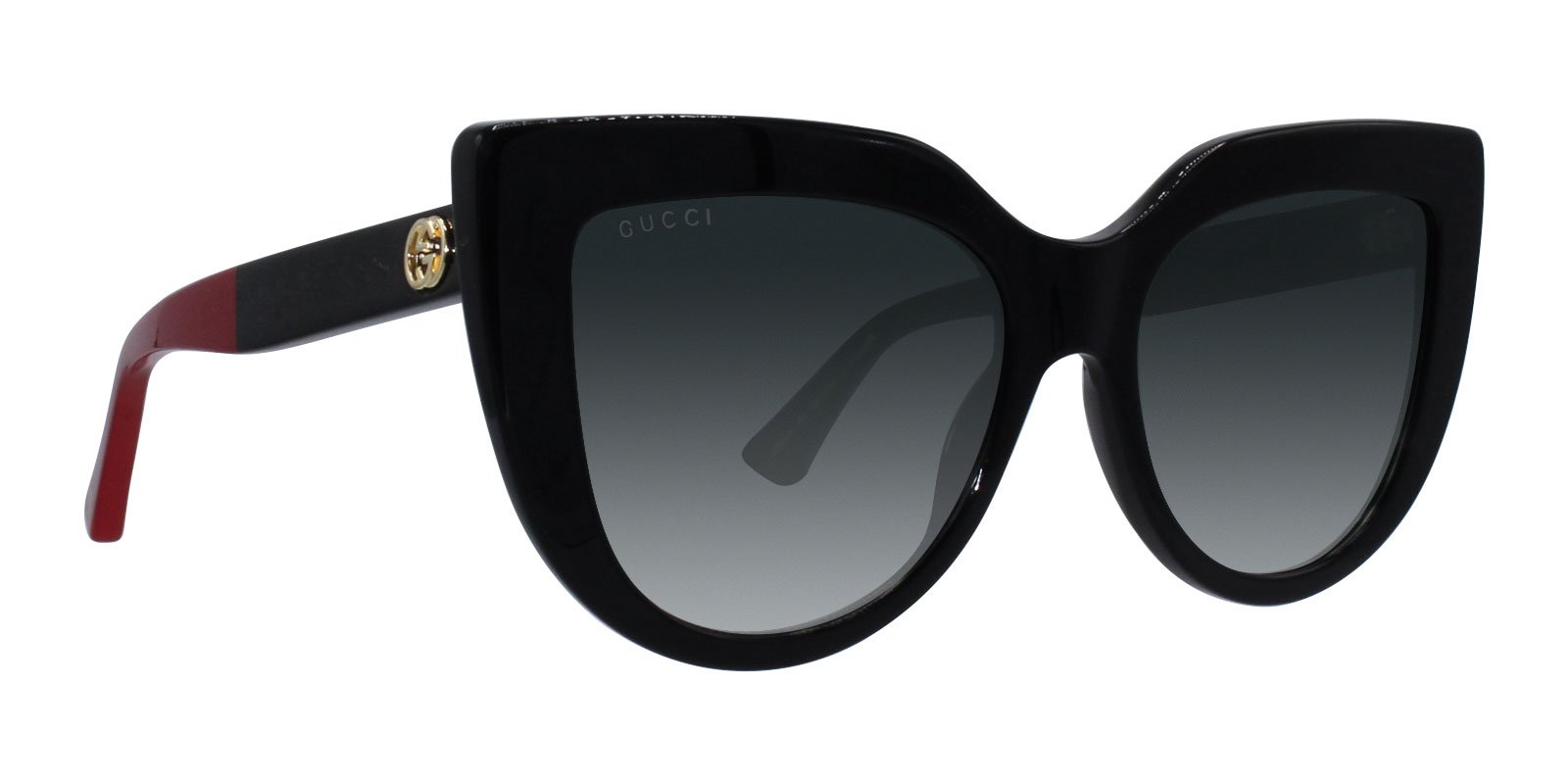Gucci - GG0164S Black Cat-Eye Women Sunglasses - 53mm-Sunglasses-Designer Eyes