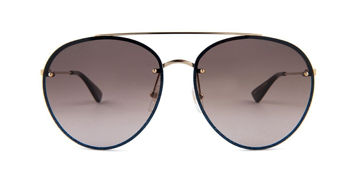 Gucci - GG0351S Blue Aviator Women Sunglasses - 62mm-Sunglasses-Designer Eyes