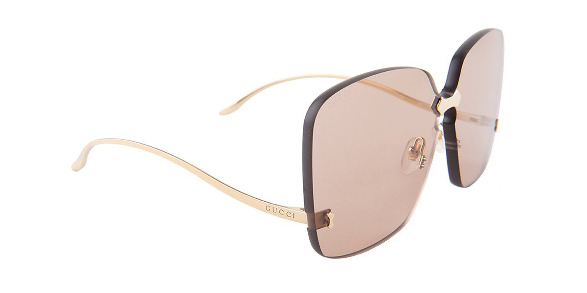 Gucci - GG0352S Gold Rimless Women Sunglasses - 99mm-Sunglasses-Designer Eyes