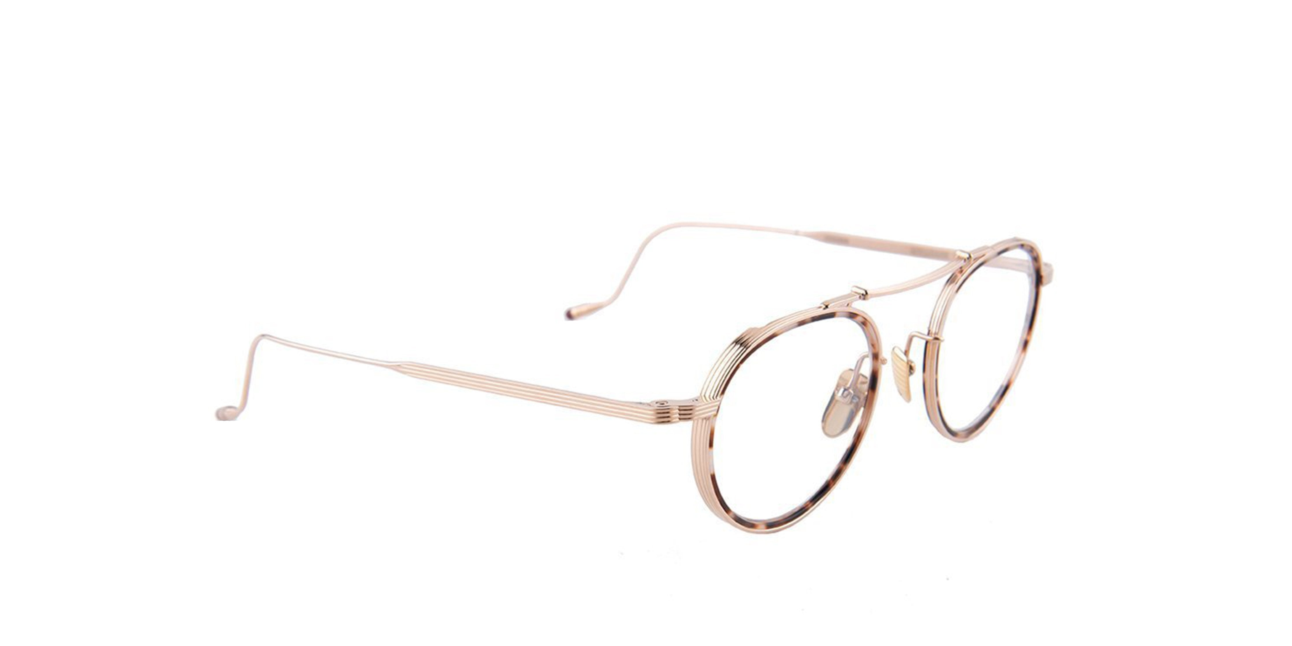 Jacques Marie Mage - Apollinaire Gold/Clear Round Women Eyeglasses - 48mm-Eyeglasses-Designer Eyes
