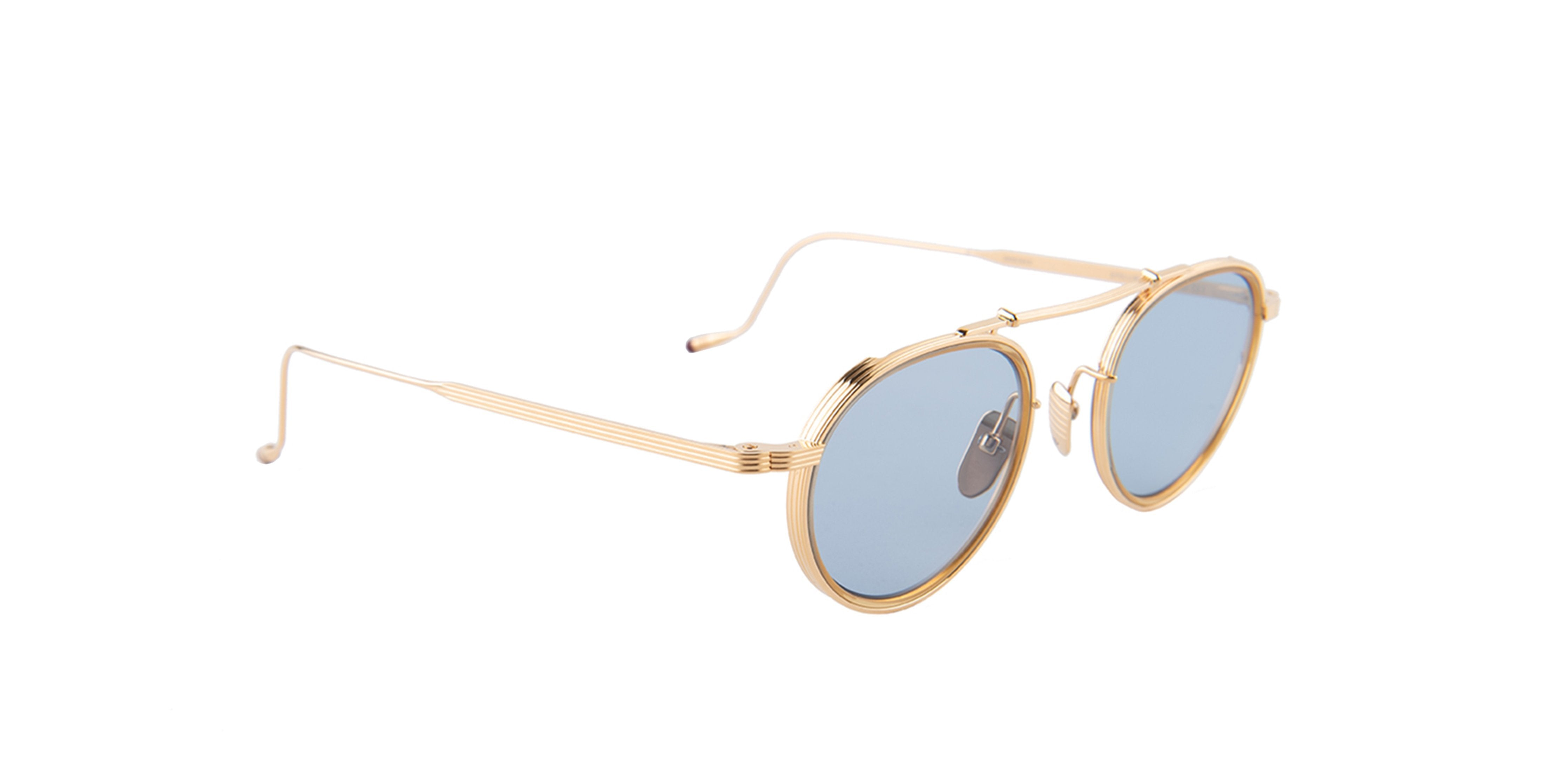 Jacques Marie Mage - Apollinaire Gold/Blue Round Unisex Sunglasses - 48mm-Sunglasses-Designer Eyes