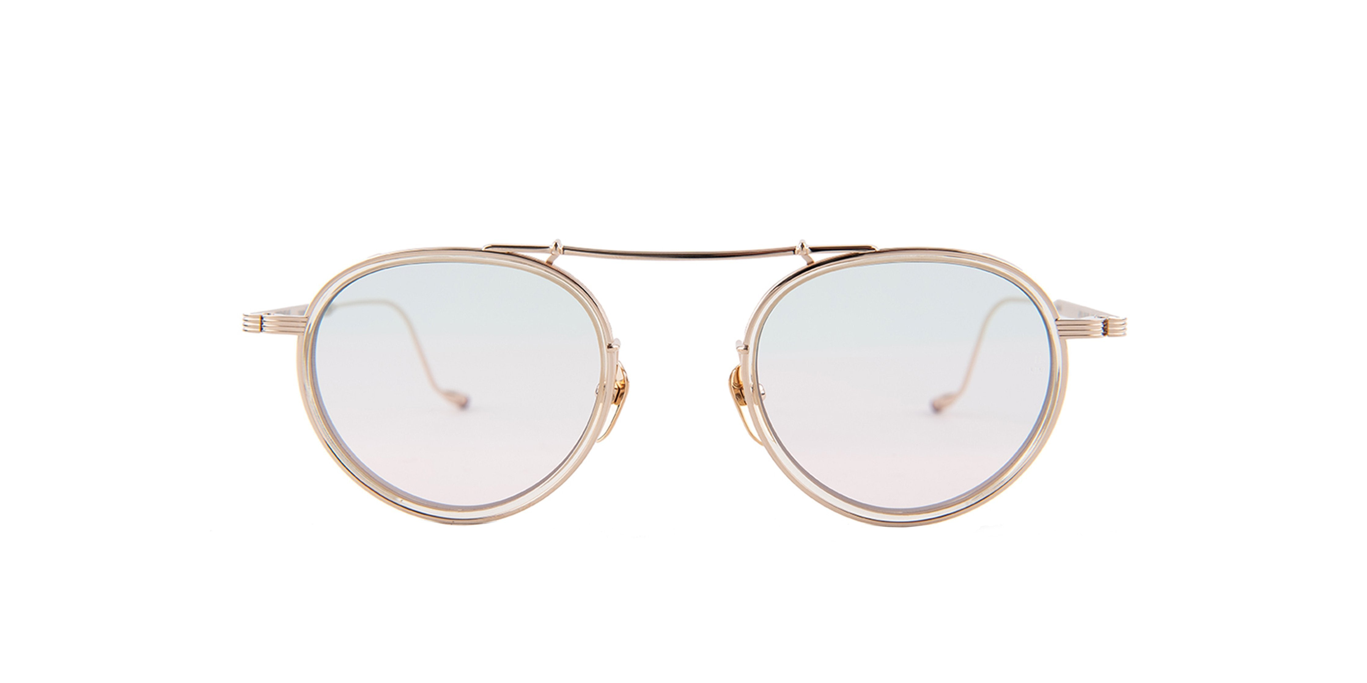 Jacques Marie Mage - Apollinaire Gold/Clear Round Unisex Sunglasses - 48mm-Sunglasses-Designer Eyes