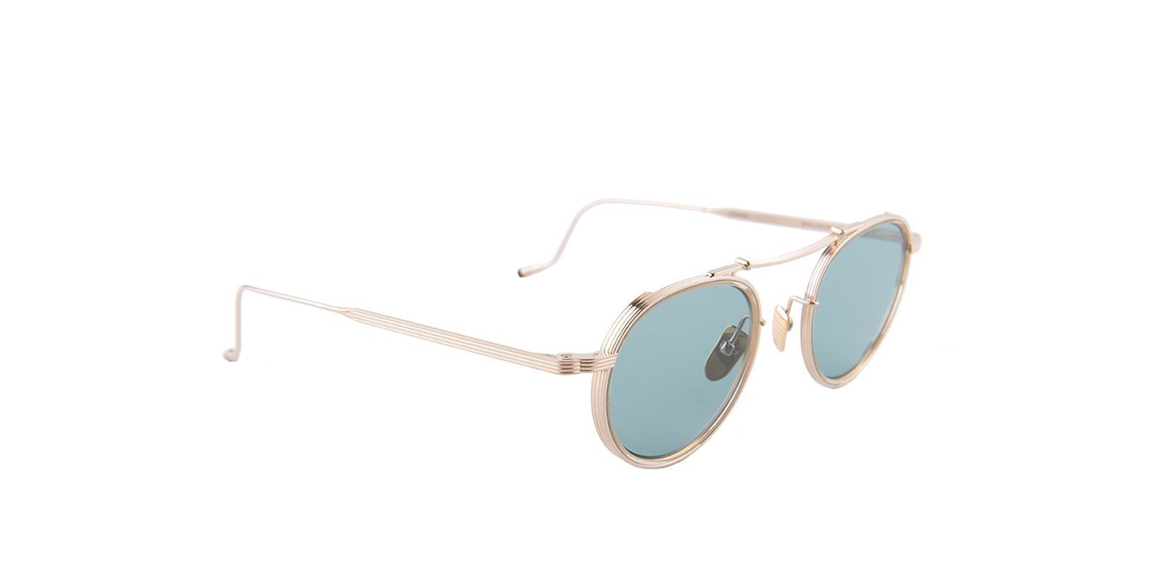 Jacques Marie Mage - Apollinaire Gold/Green Round Unisex Sunglasses - 48mm-Sunglasses-Designer Eyes