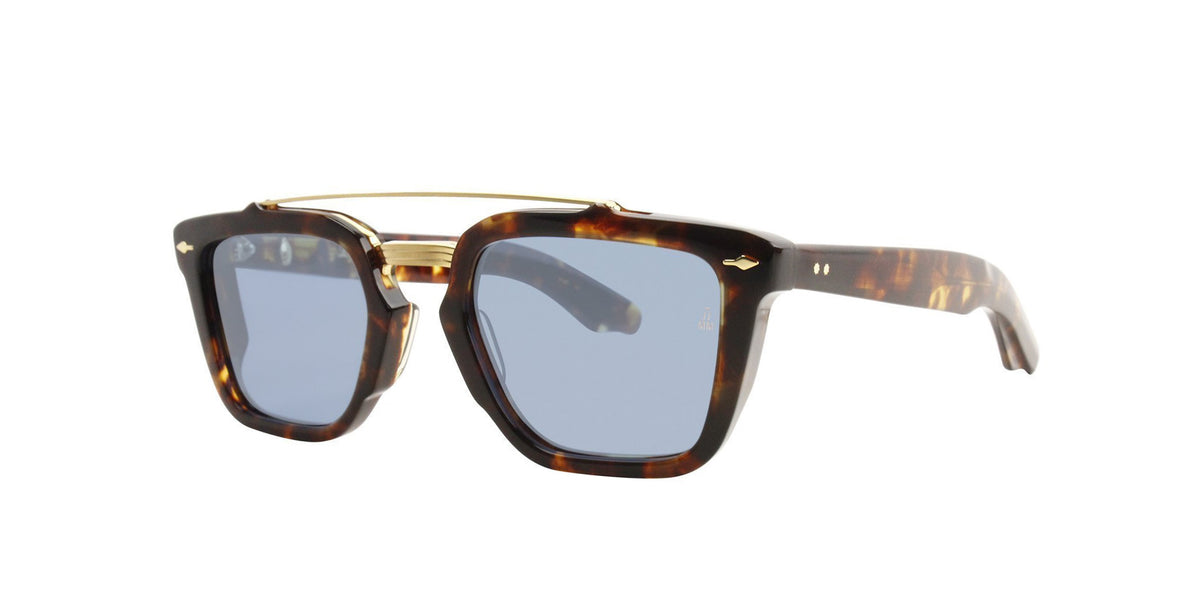 Jacques Marie Mage - Arapaho Brown/Blue Rectangular Unisex Sunglasses - 41mm-Sunglasses-Designer Eyes