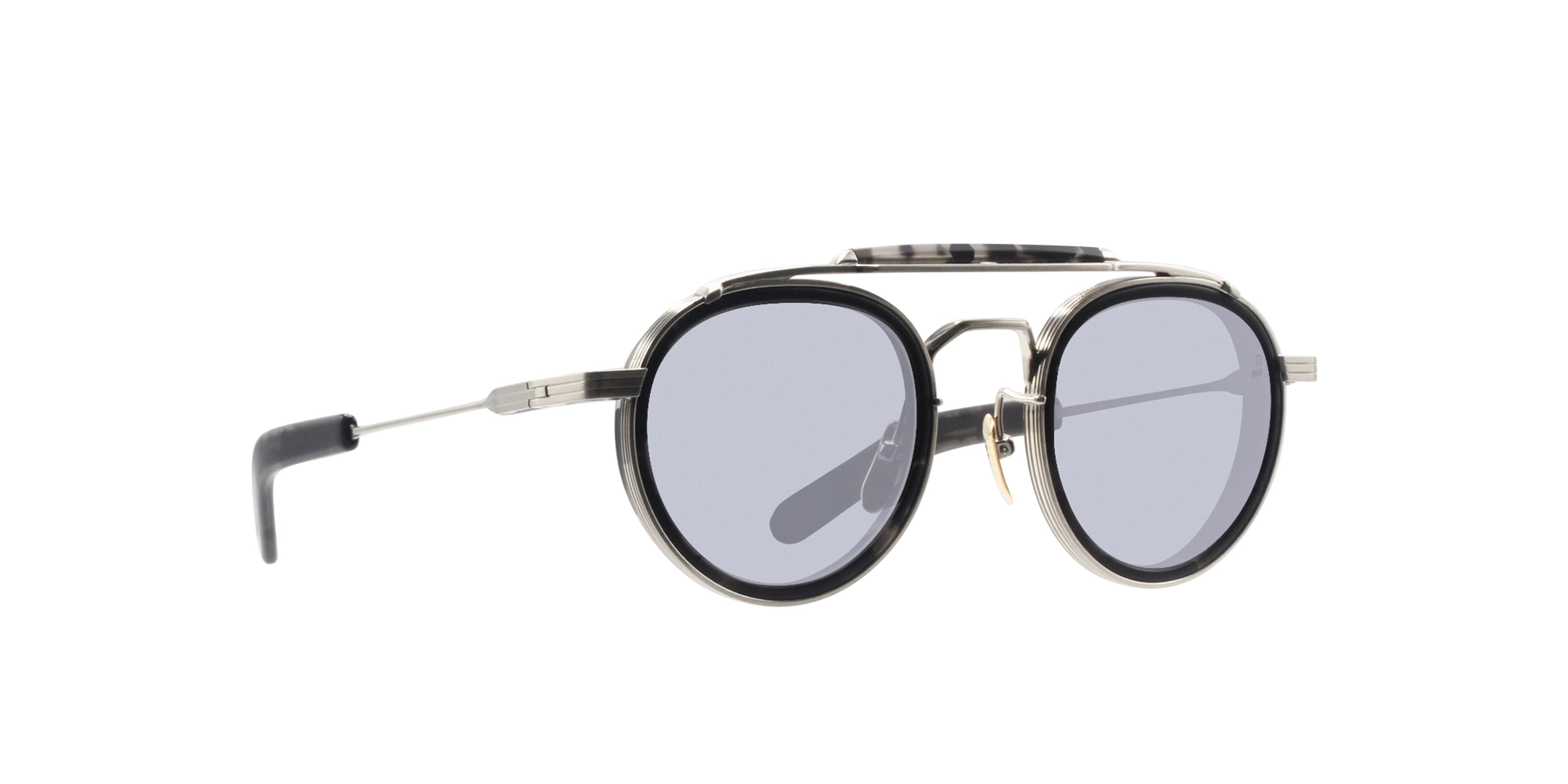 Jacques Marie Mage - Cassady Silver/Blue Oval Unisex Sunglasses - 48mm-Sunglasses-Designer Eyes