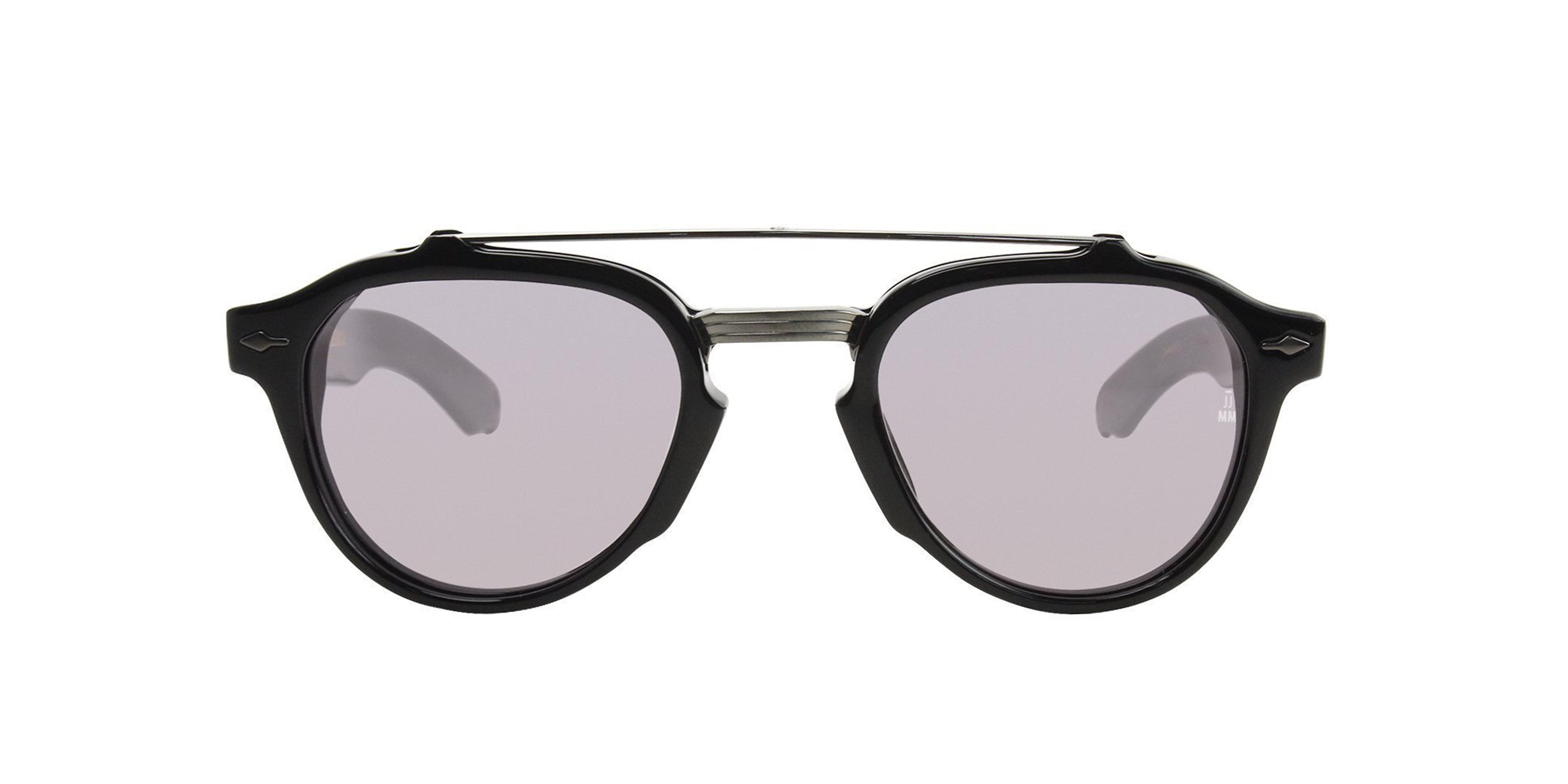 Jacques Marie Mage - Cherokee Black/Gray Oval Unisex Sunglasses - 41mm-Sunglasses-Designer Eyes