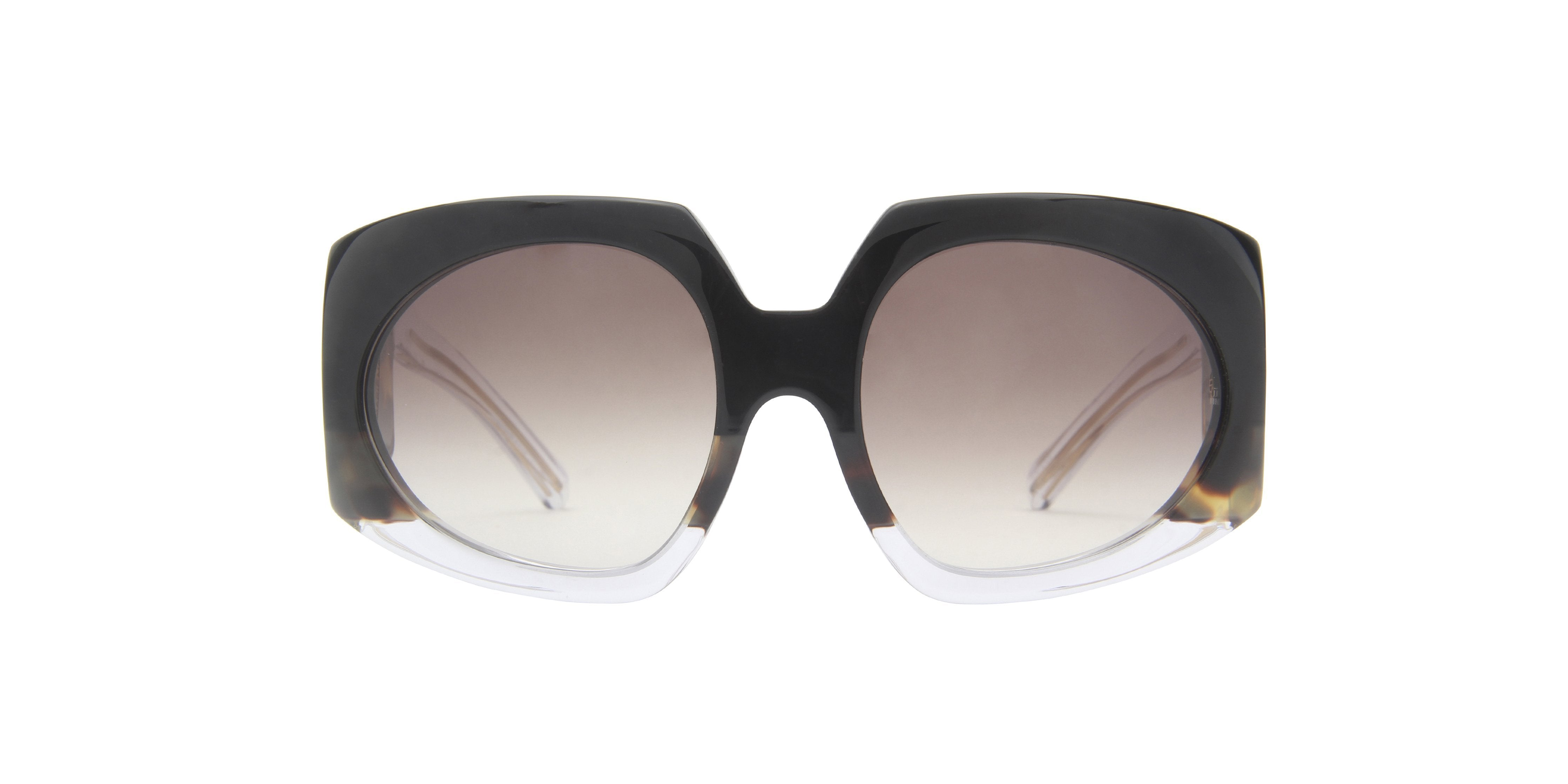 Jacques Marie Mage - Duval Black/Brown Gradient Oval Women Sunglasses - 60mm-Sunglasses-Designer Eyes