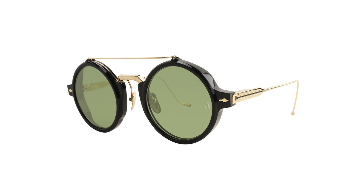 Jacques Marie Mage - Eluard Black/Green Oval Unisex Sunglasses - 41mm-Sunglasses-Designer Eyes