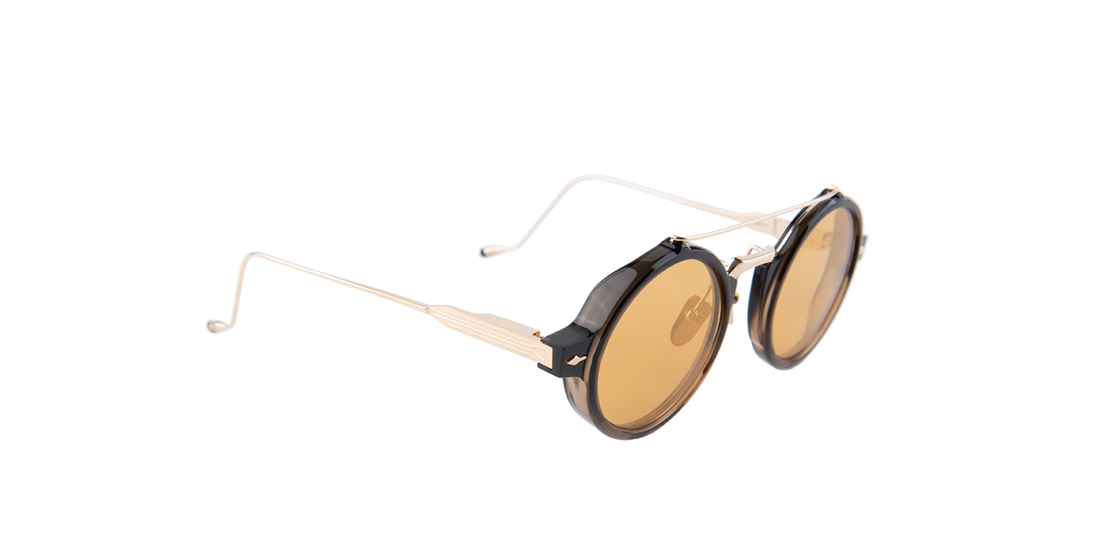 Jacques Marie Mage - Eluard Bronze/Orange Oval Unisex Sunglasses - 41mm-Sunglasses-Designer Eyes