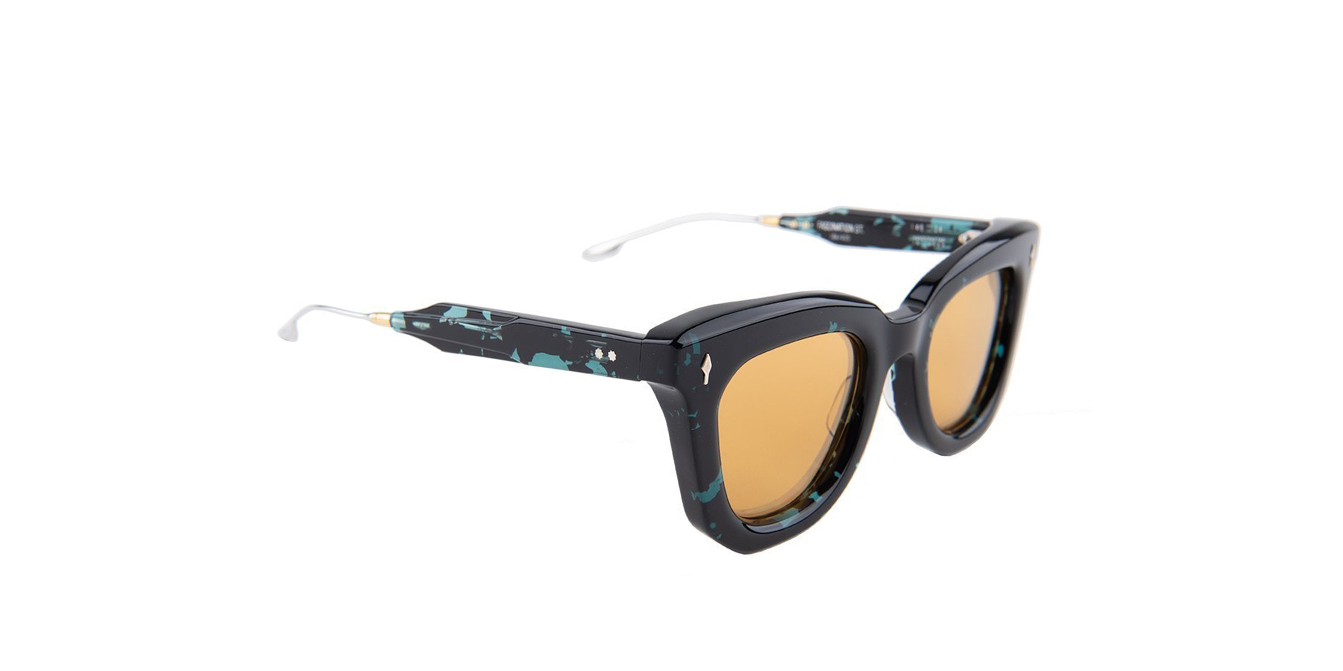 Jacques Marie Mage - Fascination Black/Gold Mirror Rectangular Women Sunglasses - 46mm-Sunglasses-Designer Eyes
