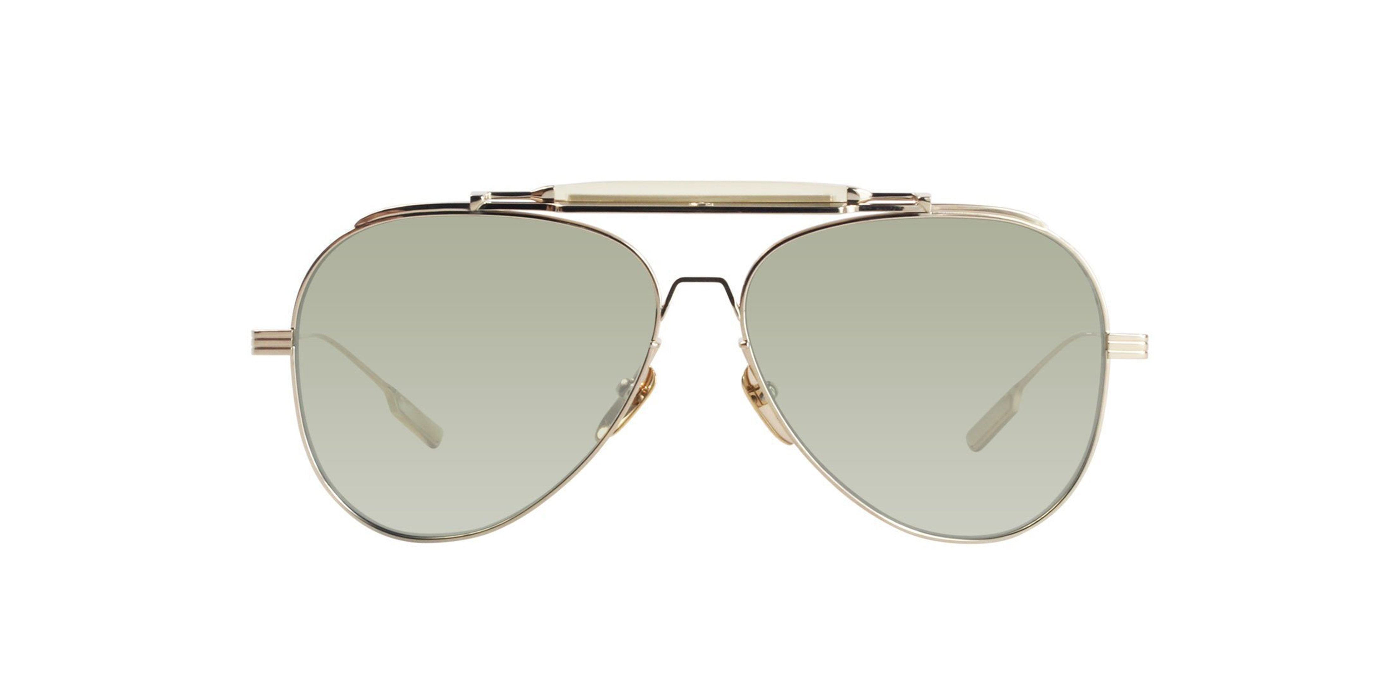 Jacques Marie Mage - Gonzo Peyote Light Gold/Light Green Aviator Unisex Sunglasses - 46mm-Sunglasses-Designer Eyes