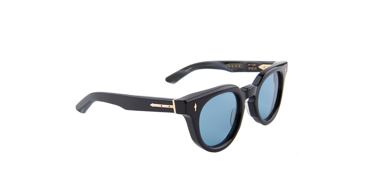 Jacques Marie Mage - Jesse Black/Blue Round Unisex Sunglasses - 47mm-Sunglasses-Designer Eyes