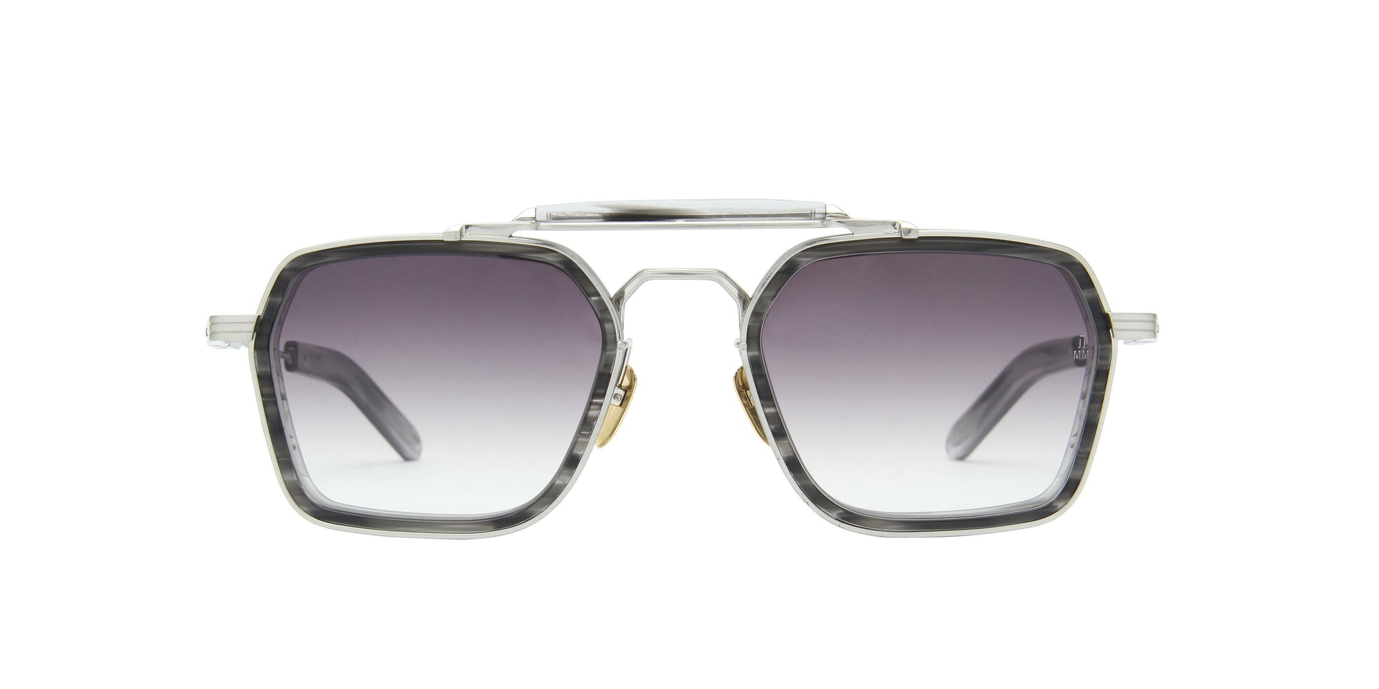 Jacques Marie Mage - Kilpatrick Silver/Gray Square Unisex Sunglasses - 54mm-Sunglasses-Designer Eyes