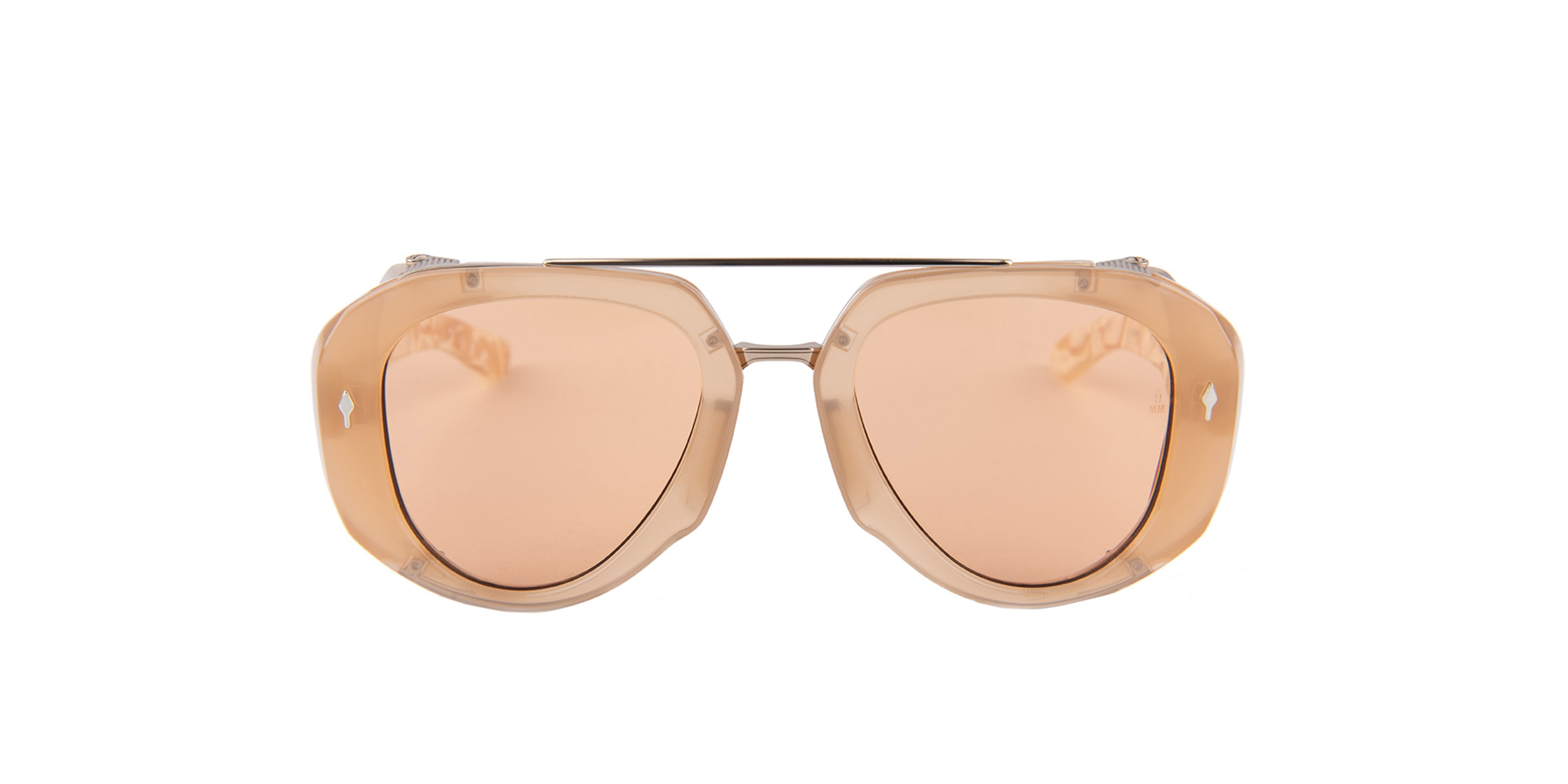 Jacques Marie Mage - LouLou Beige/Rose Gold Aviator Unisex Sunglasses - 50mm-Sunglasses-Designer Eyes