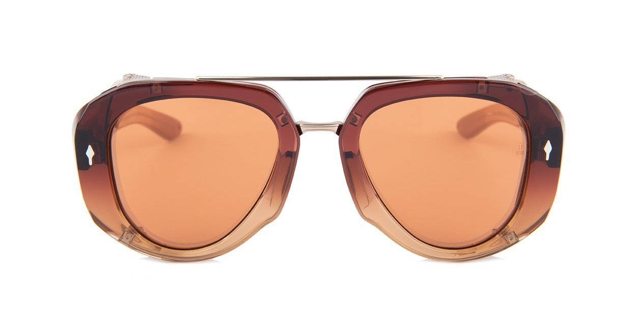 Jacques Marie Mage - LouLou Burgundy/Brown Aviator Unisex Sunglasses - 50mm-Sunglasses-Designer Eyes