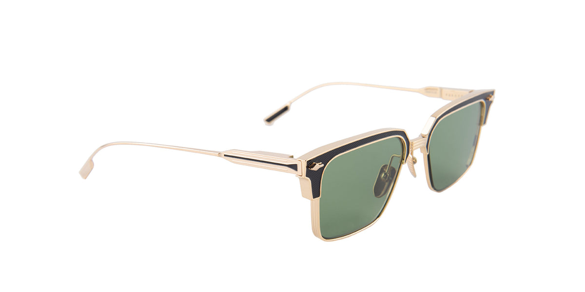 Jacques Marie Mage - Parker Black Gold/Green Rectangular Unisex Sunglasses - 53mm-Sunglasses-Designer Eyes