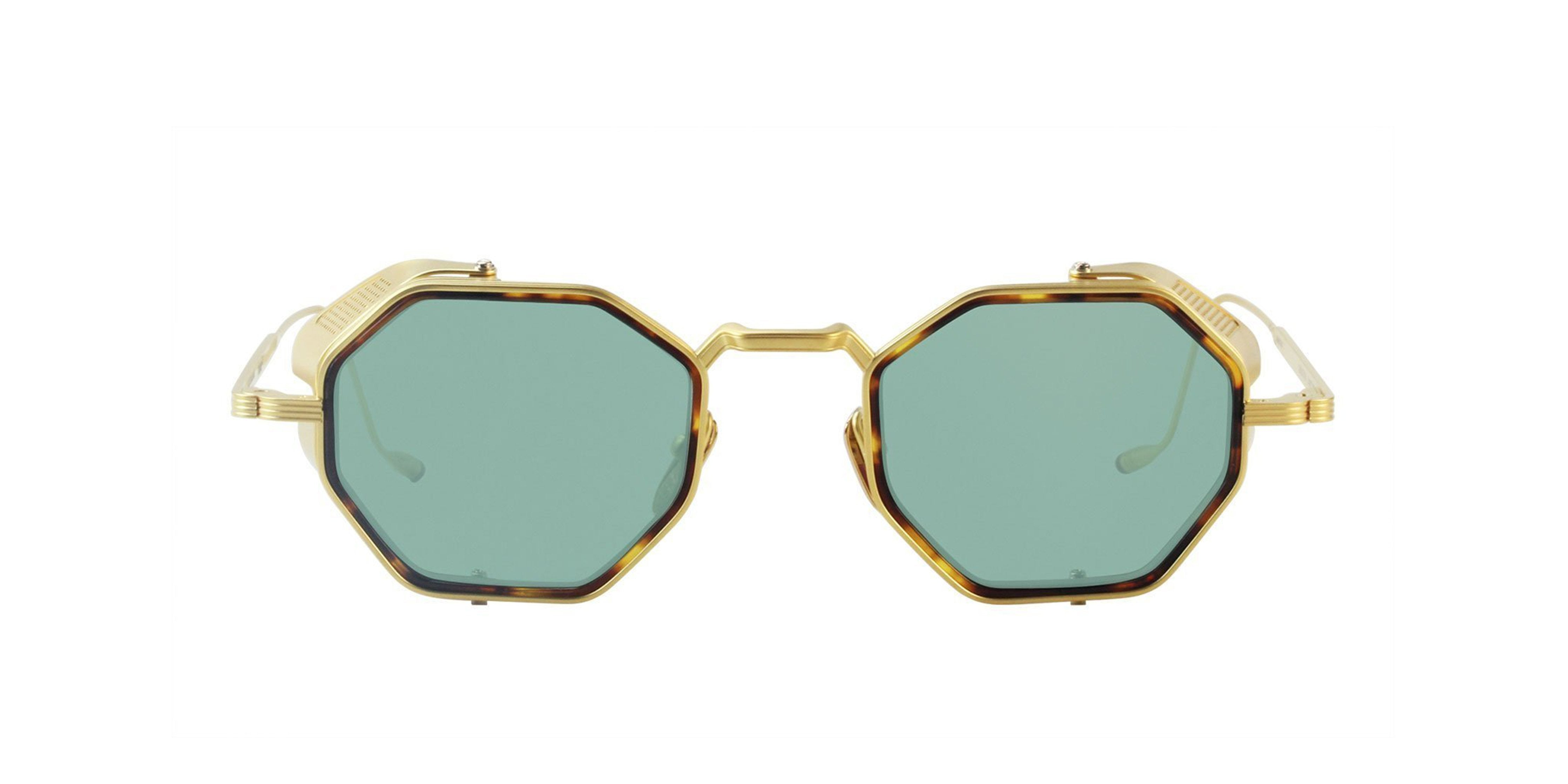 Jacques Marie Mage - Quatro Gold/Green Oval Unisex Sunglasses - 46mm-Sunglasses-Designer Eyes