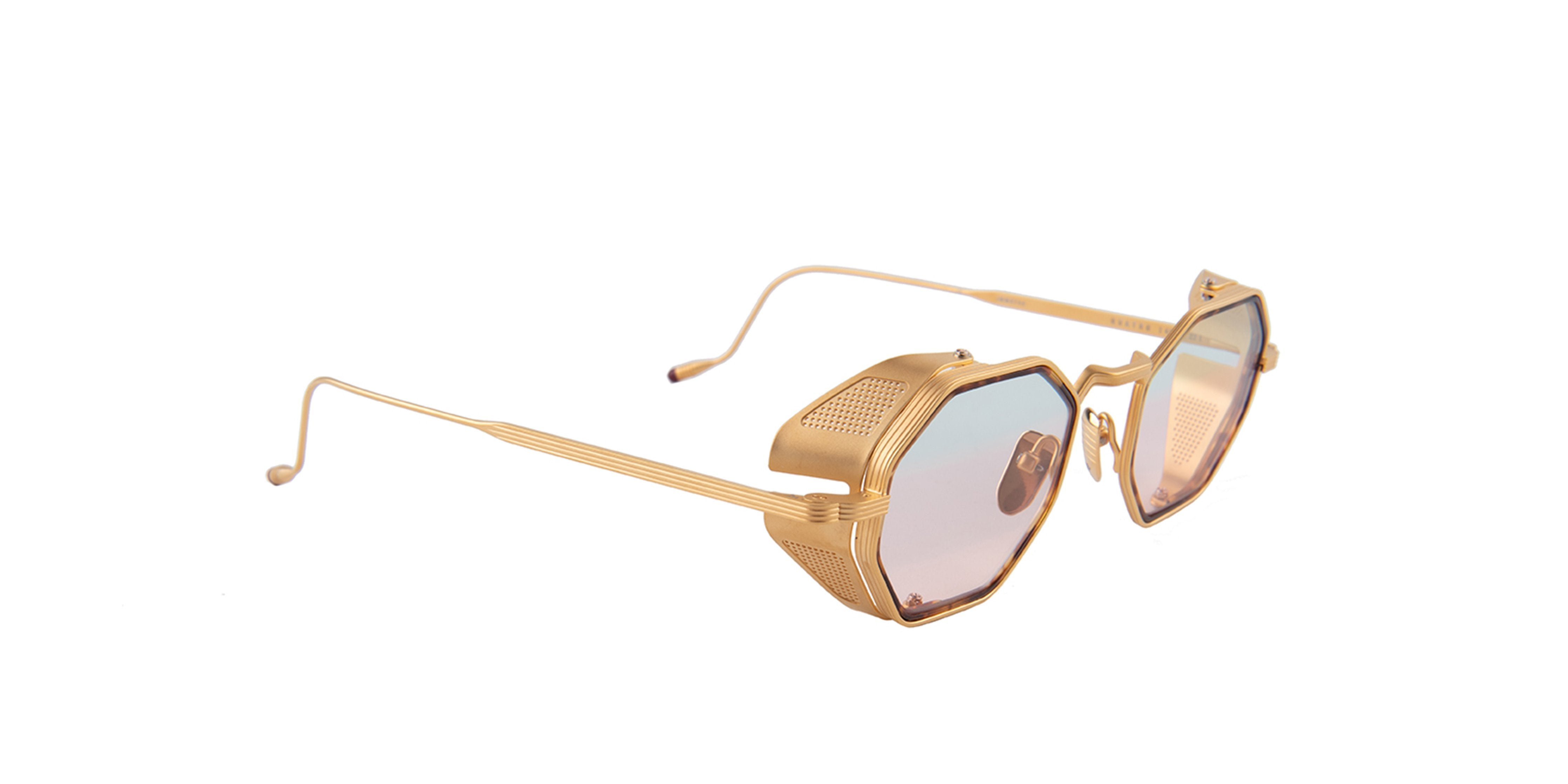 Jacques Marie Mage - Quatro Gold/Pink Square Women Sunglasses - 48mm-Sunglasses-Designer Eyes