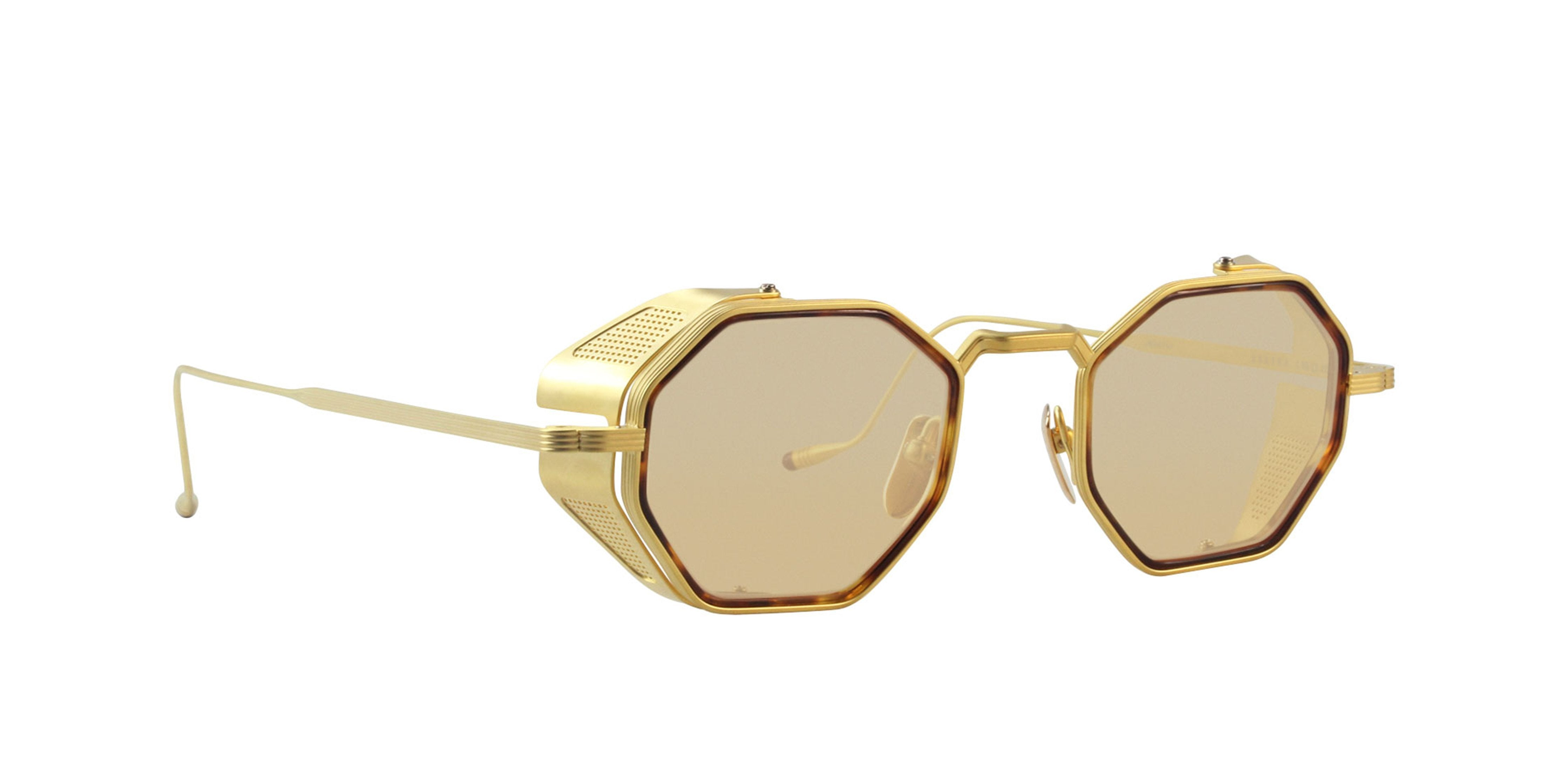 Jacques Marie Mage - Quatro Gold/Yellow Oval Unisex Sunglasses - 48mm-Sunglasses-Designer Eyes