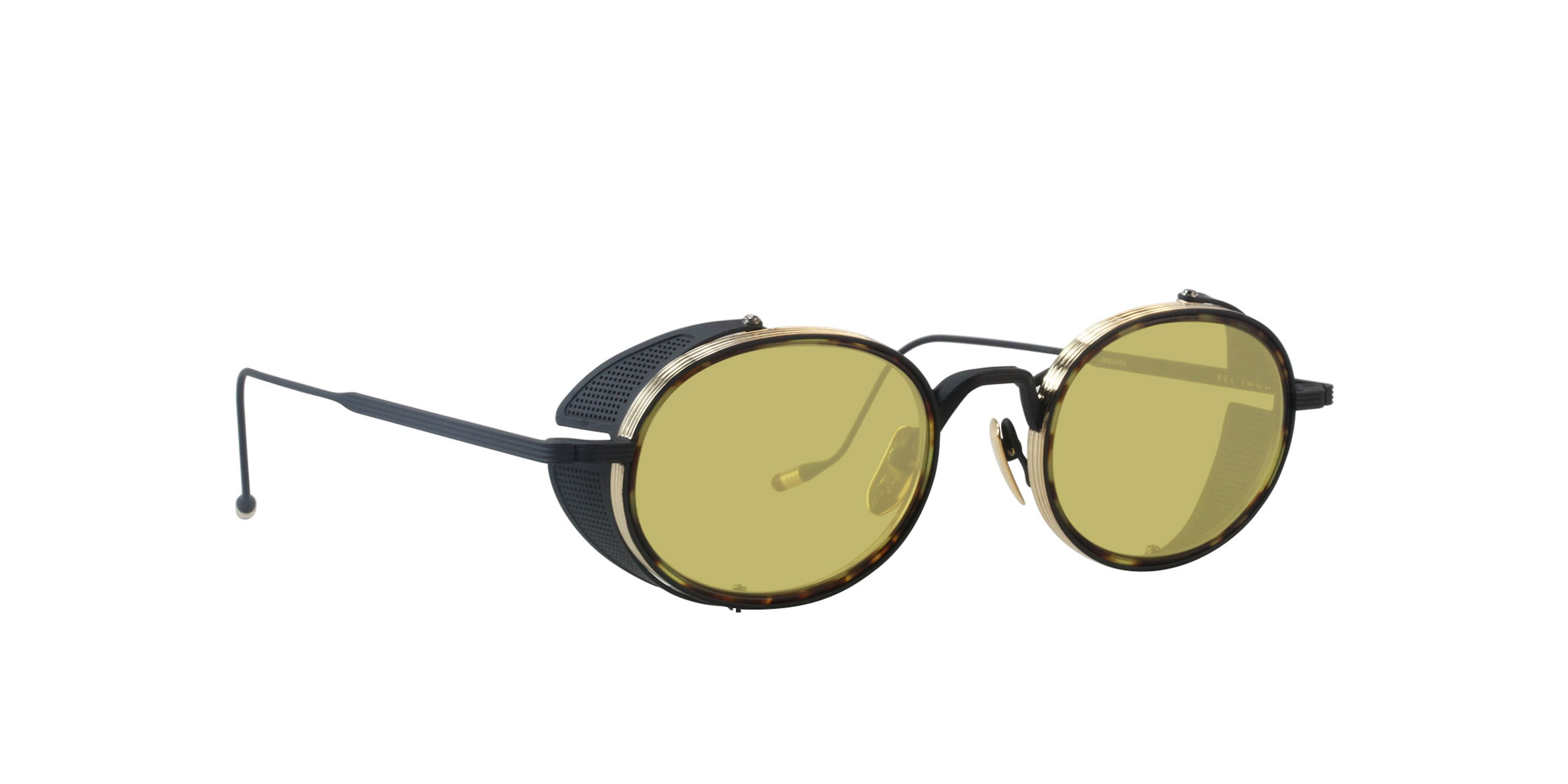 Jacques Marie Mage - Rex Black Gold/Yellow Oval Unisex Sunglasses - 50mm-Sunglasses-Designer Eyes