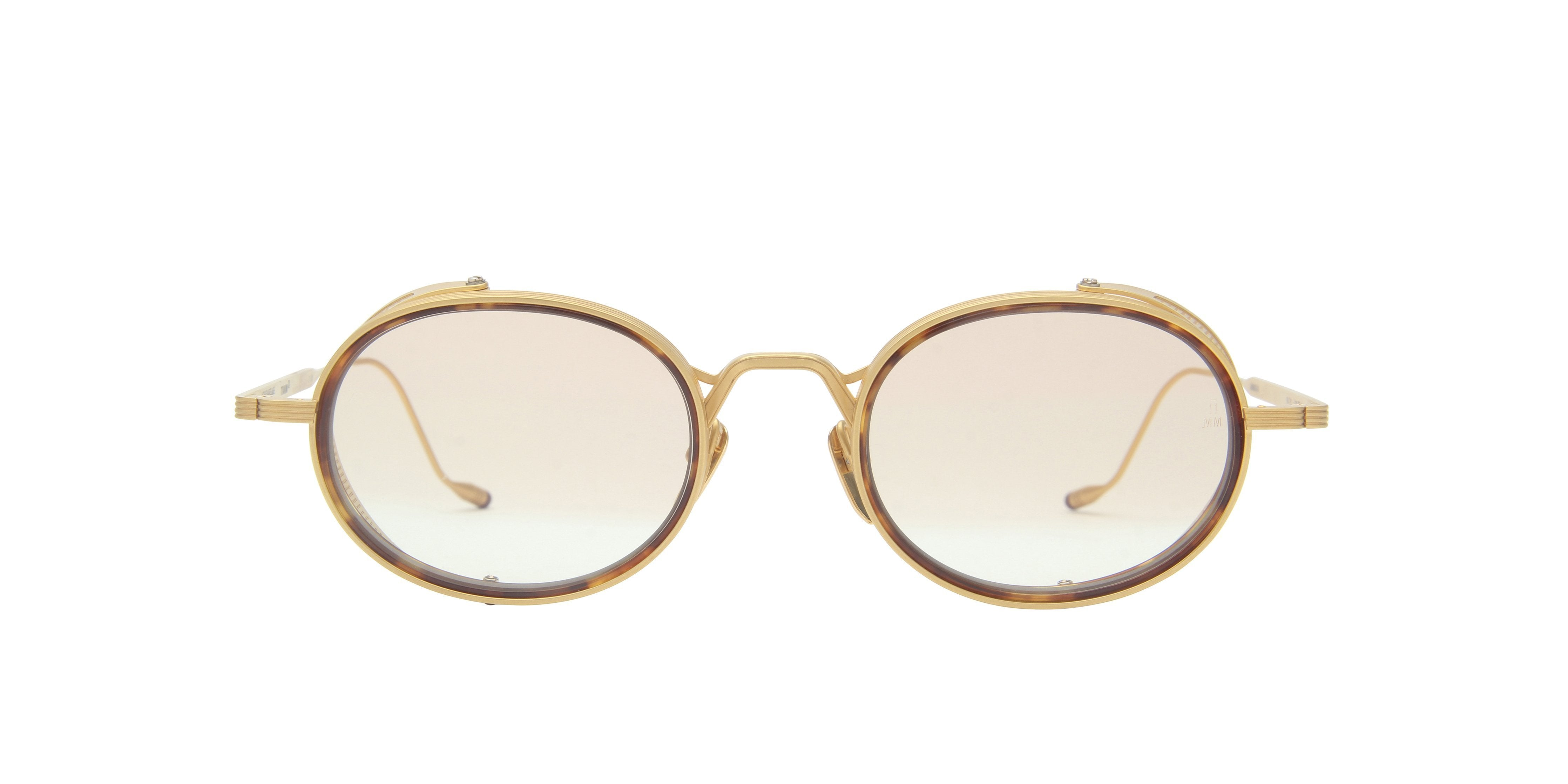 Jacques Marie Mage - Rex Gold/Brown Oval Women Sunglasses - 50mm-Sunglasses-Designer Eyes