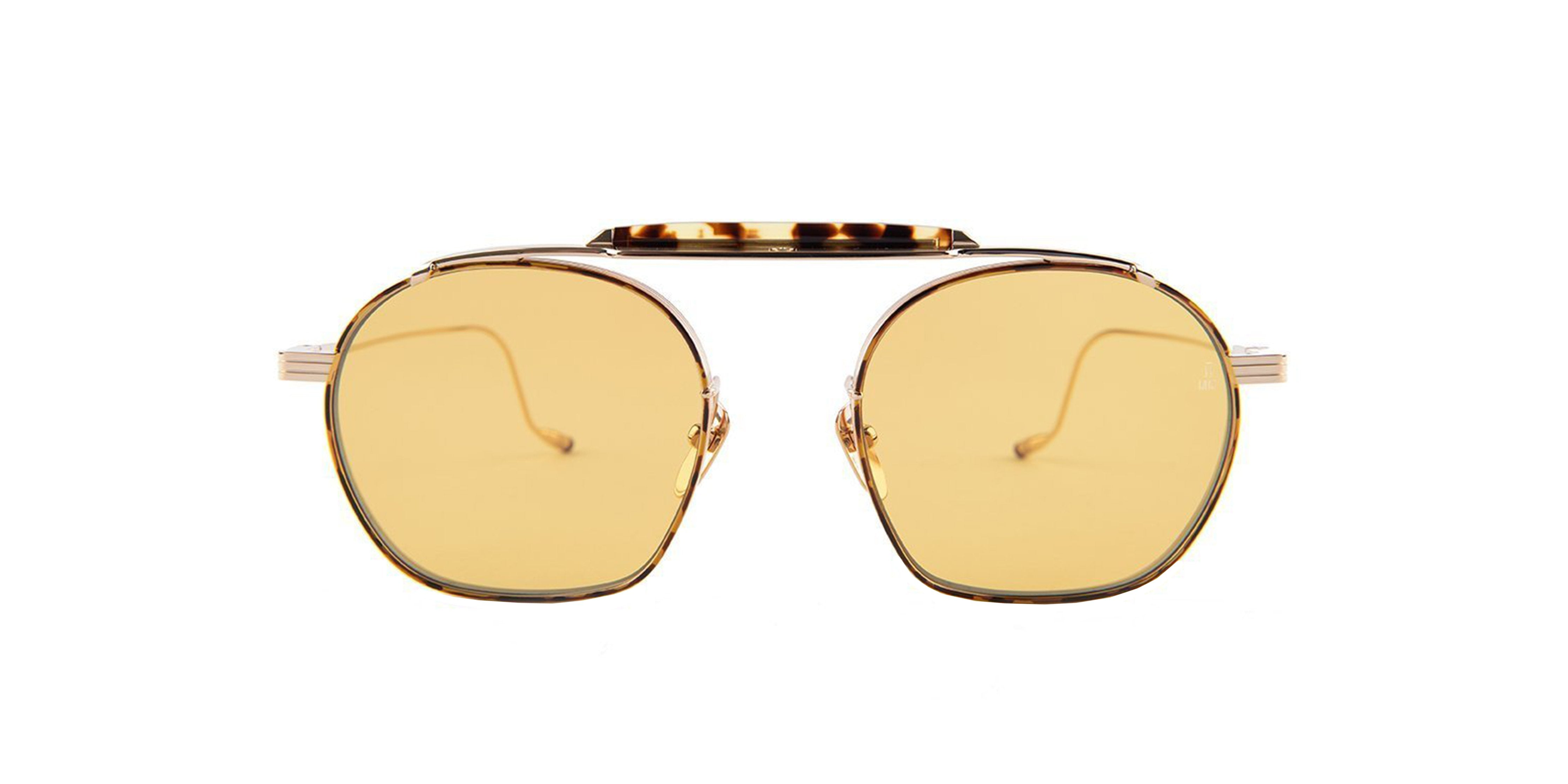 Jacques Marie Mage - Victorio Brown/Yellow Solid Unisex Sunglasses - 41mm-Sunglasses-Designer Eyes