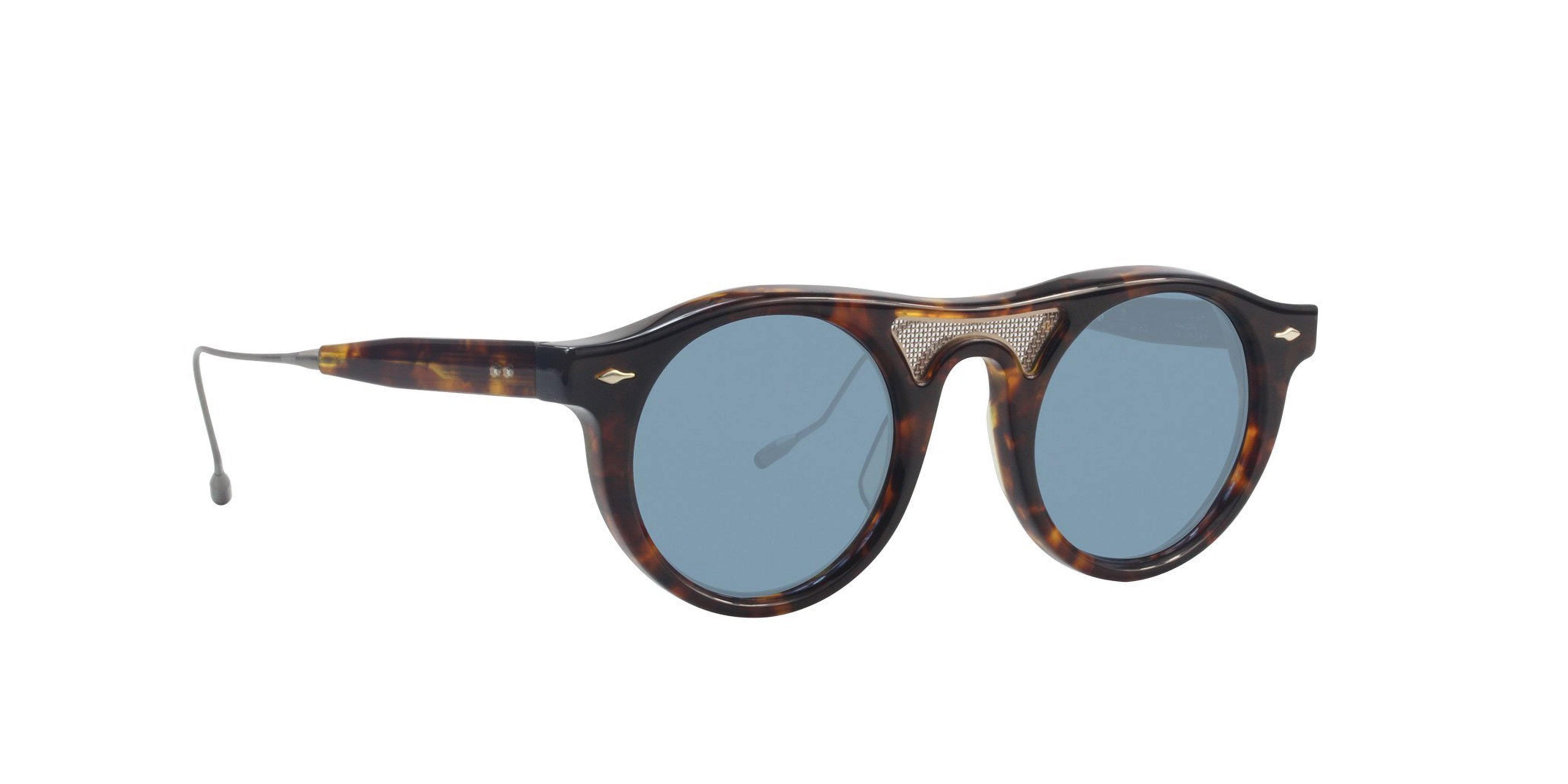 Jacques Marie Mage - Willem Tortoise/Blue Oval Unisex Sunglasses - 45mm-Sunglasses-Designer Eyes