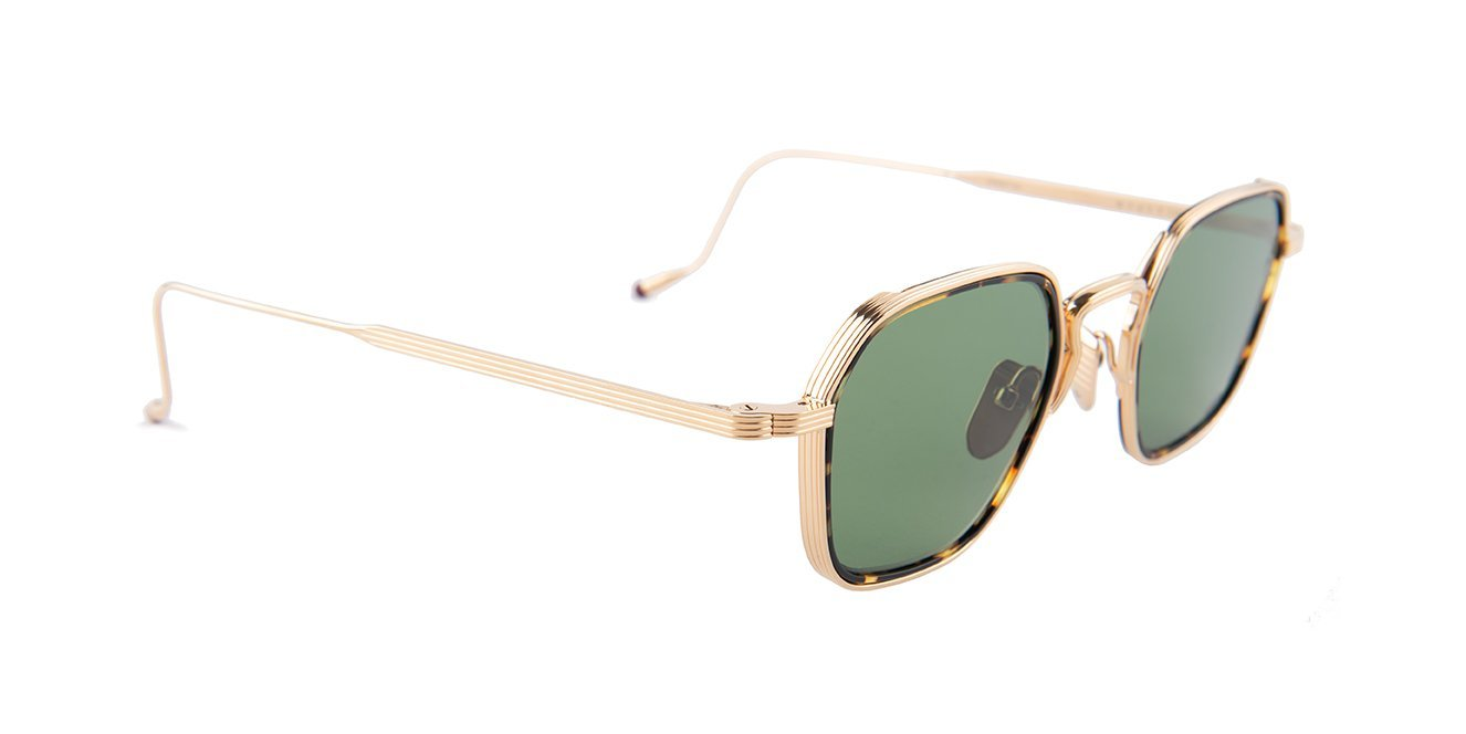 Jacques Marie Mage - Wyatt Gold/Green Rectangular Unisex Sunglasses - 47mm-Sunglasses-Designer Eyes