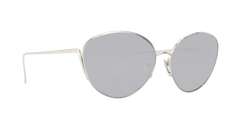 Linda Farrow - LF508 Silver Oval Women Sunglasses - 61mm-Sunglasses-Designer Eyes