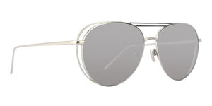 Linda Farrow - LF575 Silver Aviator Women Sunglasses - 61mm-Sunglasses-Designer Eyes