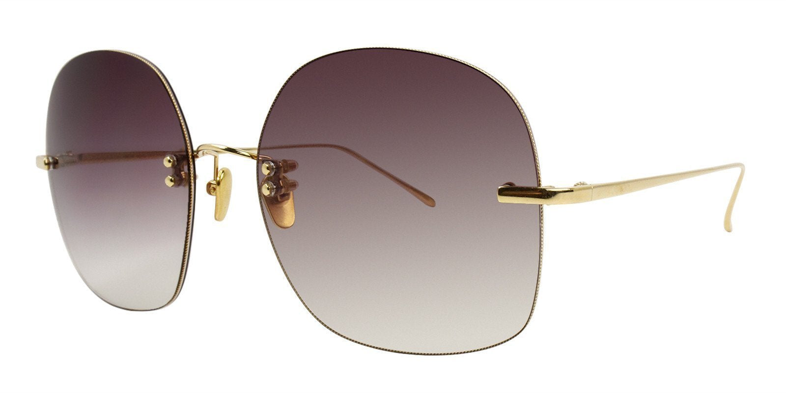 Linda Farrow - LFL18K07 Gold Oval Women Sunglasses - 61mm-Sunglasses-Designer Eyes