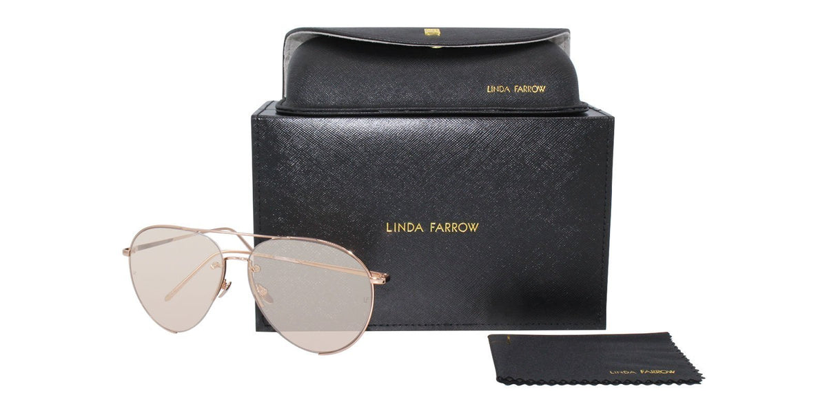 Linda Farrow - LFL/624/7 Bronze Aviator Women Sunglasses - 65mm-Sunglasses-Designer Eyes
