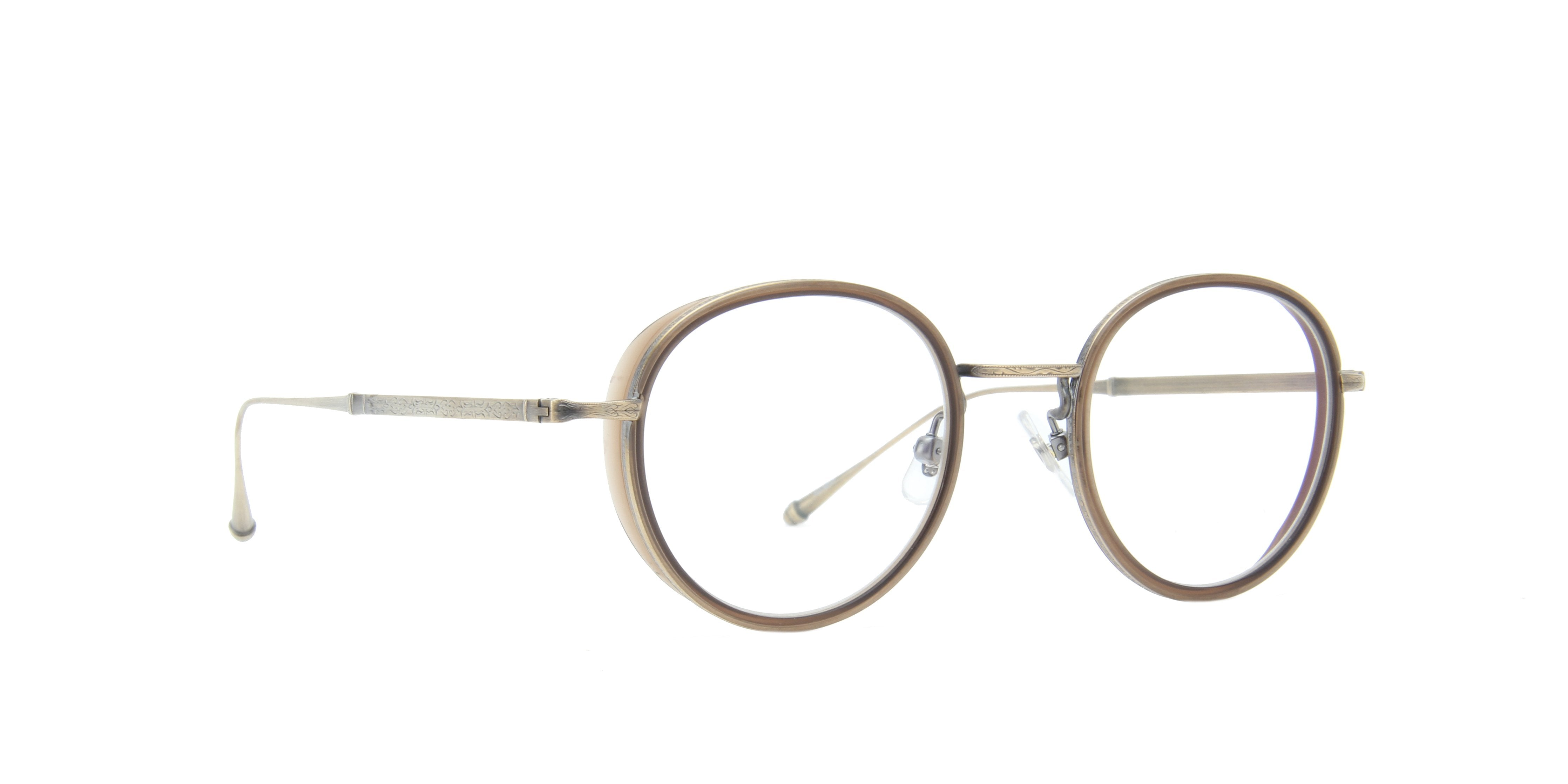 Matsuda - M3063 Antique Gold/Clear Oval Unisex Sunglasses - 47mm-Eyeglasses-Designer Eyes